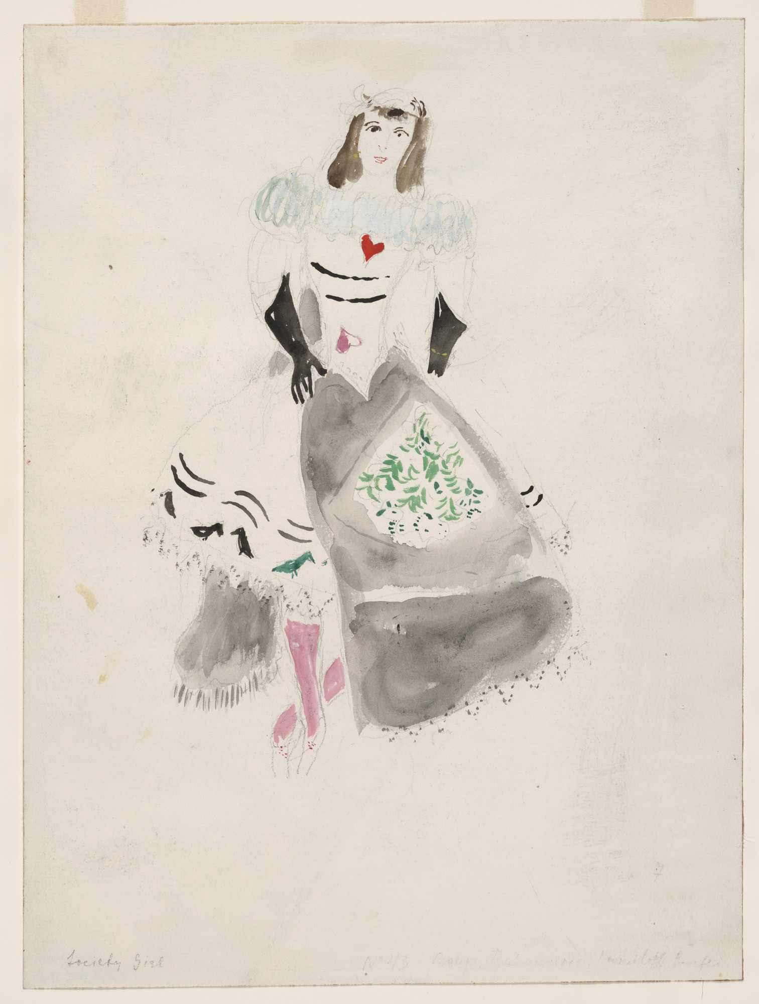 Marc Chagall. A Society Lady, costume design for Aleko (Scene IV). (1942)