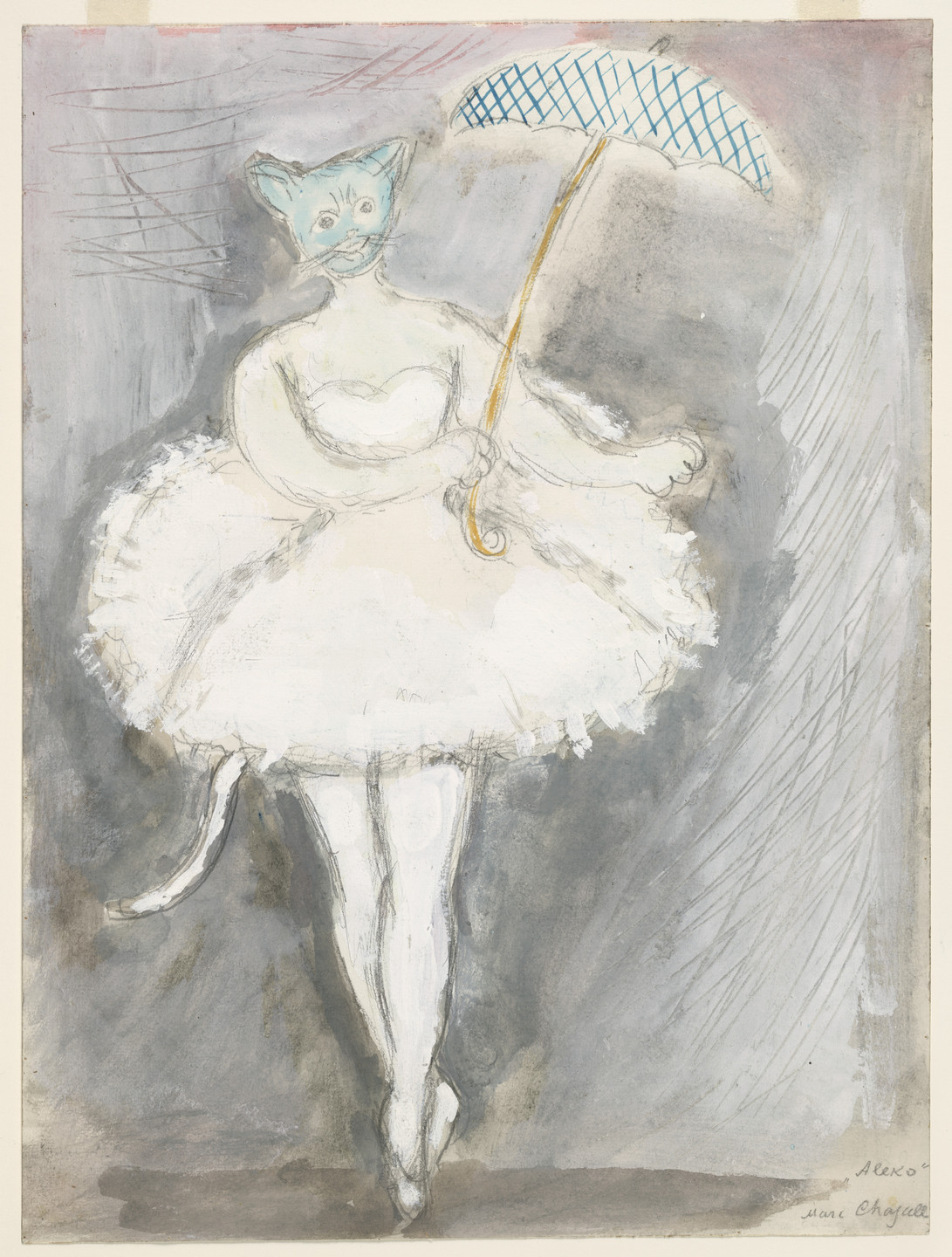 Marc Chagall. A Cat. Costume design for Scene IV of the ballet Aleko. 1942