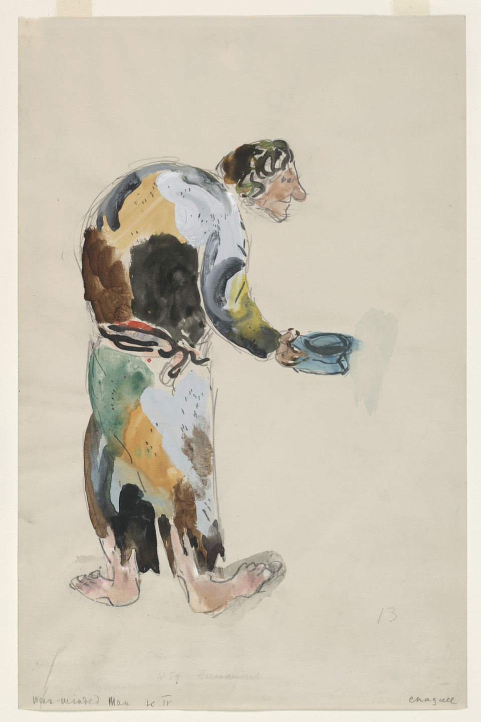 Marc Chagall. A Weak-Minded Man. Costume design for Scene IV of the ballet Aleko. 1942