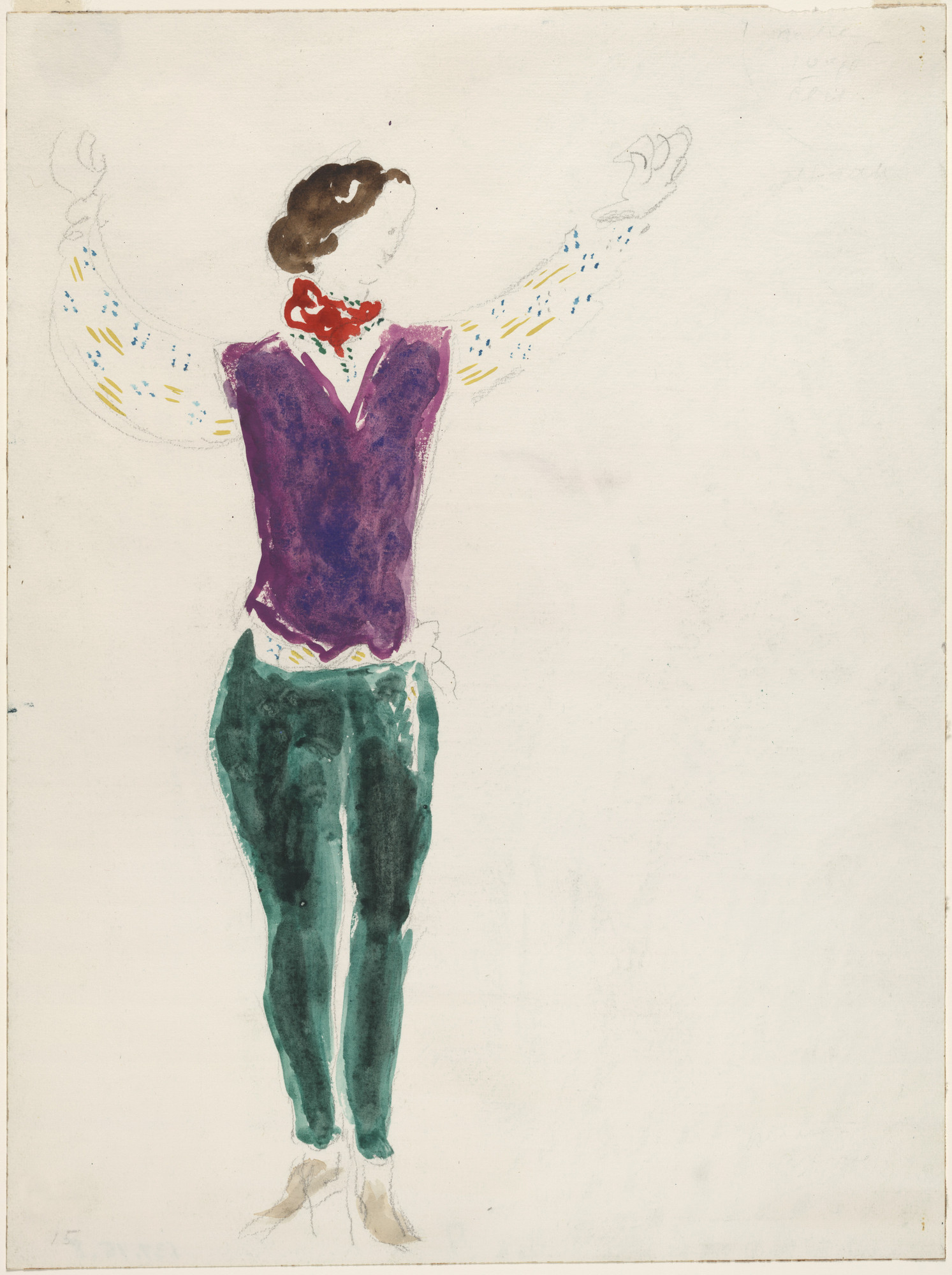Marc Chagall. The Gypsy Lover. Costume design for Scene I of the ballet Aleko. (1942)