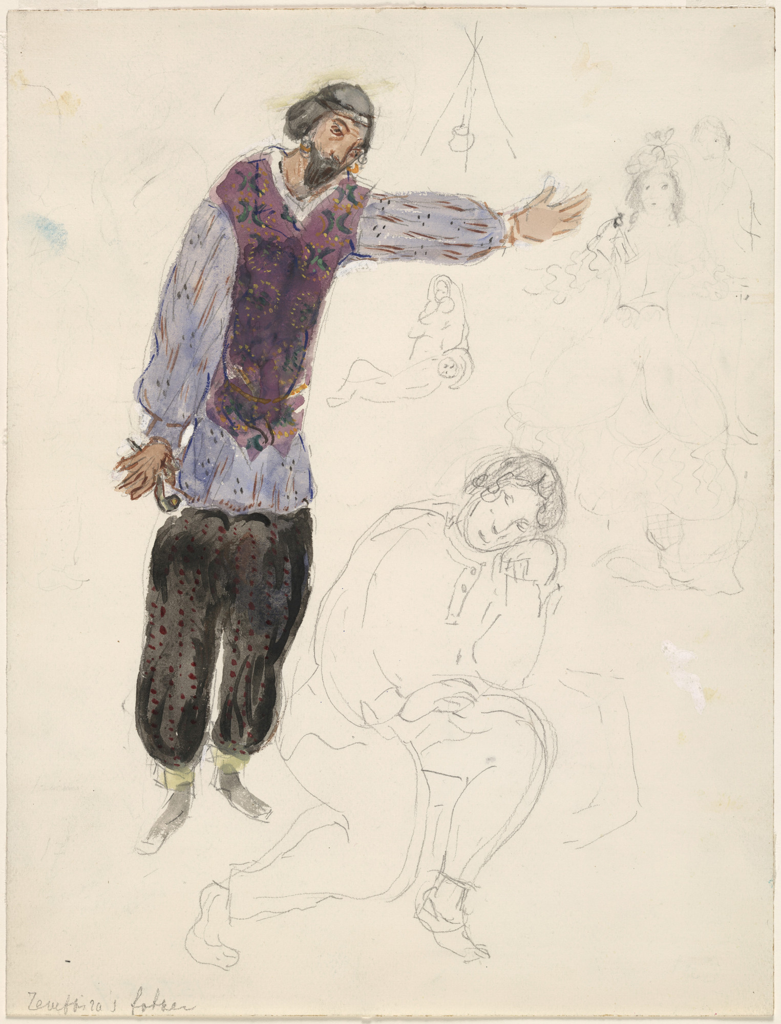 Marc Chagall. Zemphira's Father, costume design for Aleko (Scene I). (1942)
