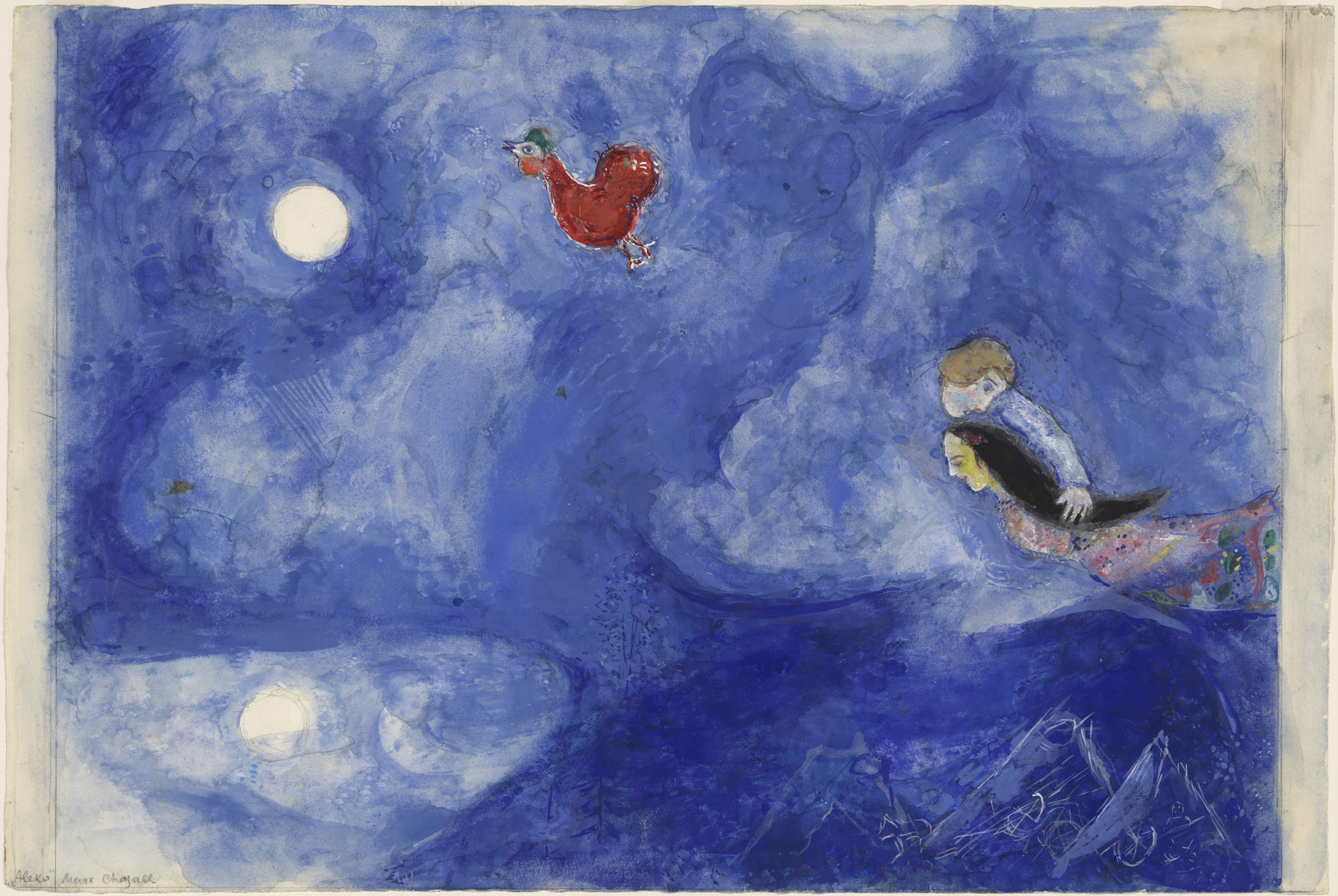 Marc Chagall. Aleko and Zemphira by Moonlight. Study for backdrop for scene 1 of the ballet Aleko. (1942)