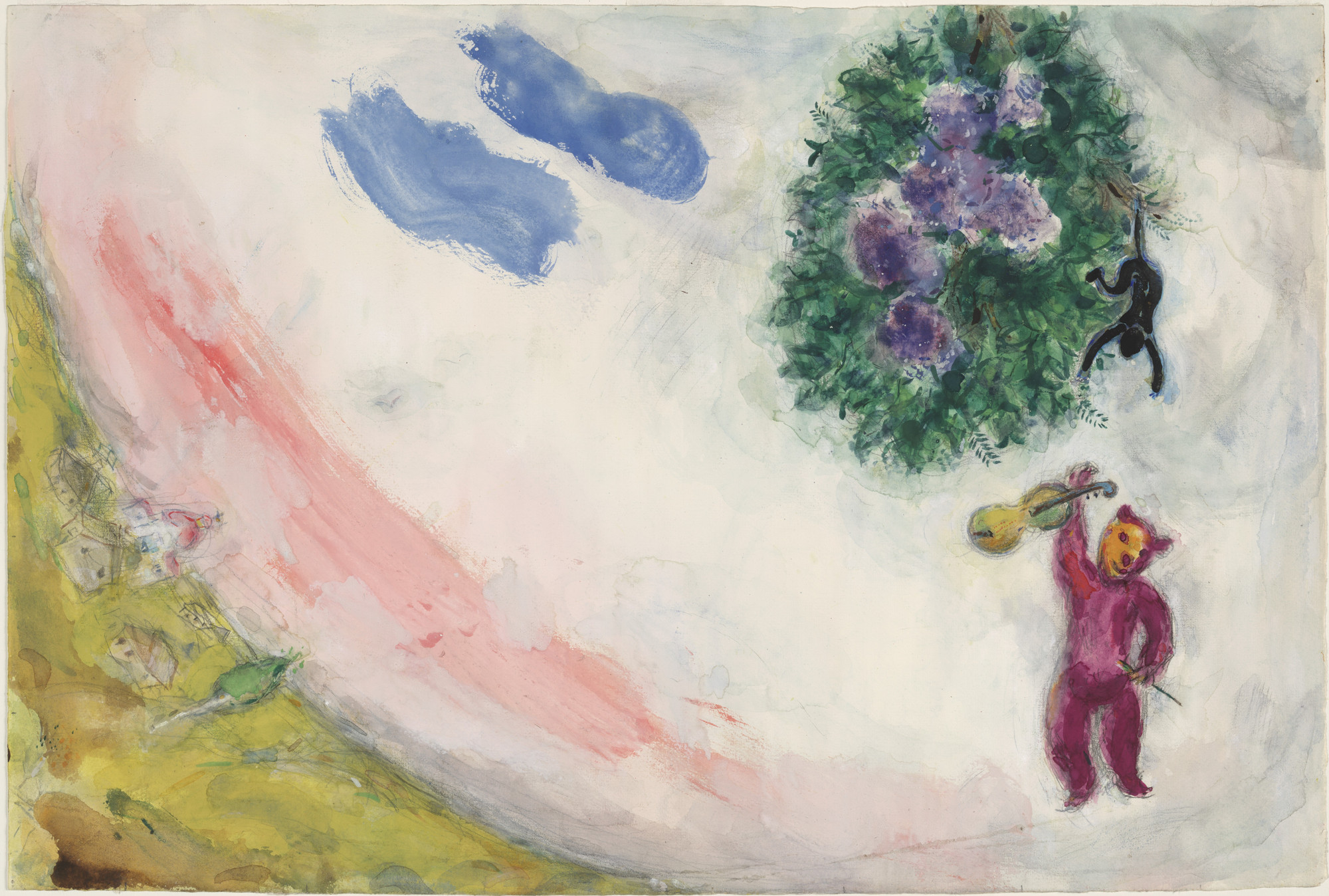 Marc Chagall. The Carnival. Study for backdrop for Scene II of the ballet Aleko. 1942