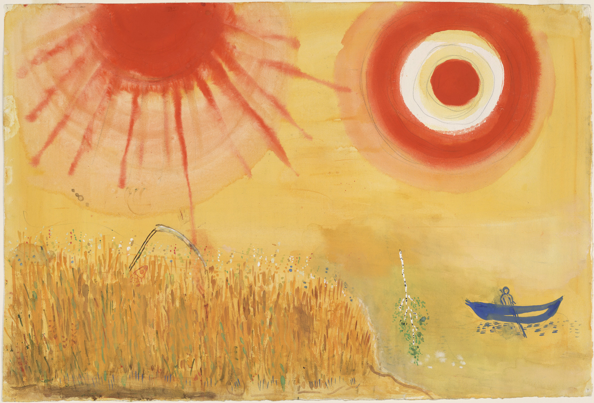 Marc Chagall. A Wheatfield on a Summer's Afternoon. Study for backdrop for Scene III of the ballet Aleko. (1942)