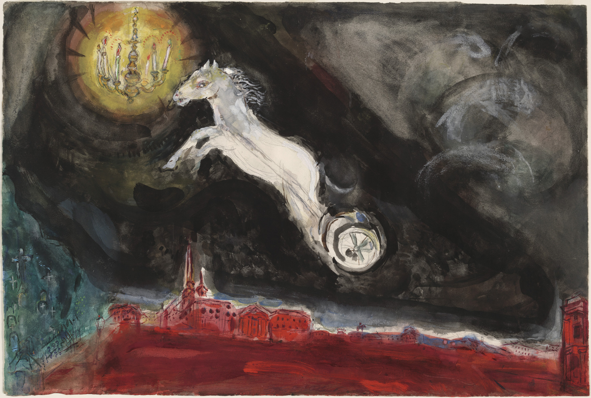 Marc Chagall. A Fantasy of St. Petersburg. Study for backdrop for Scene IV of the ballet Aleko. (1942)