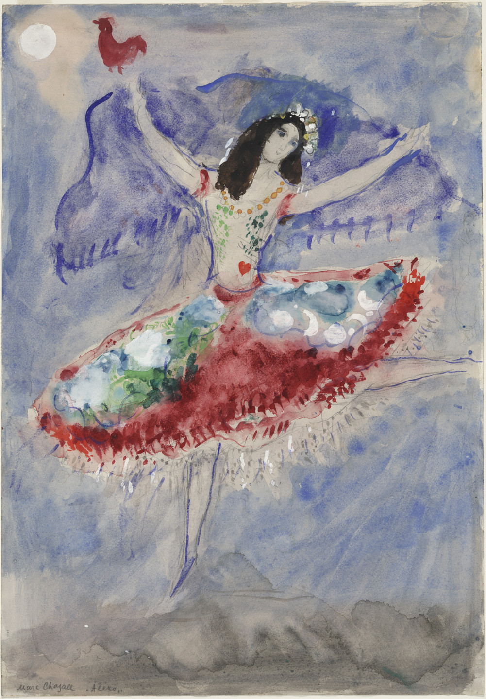Marc Chagall. Zemphira. Costume design for Scene I of the ballet Aleko. (1942)