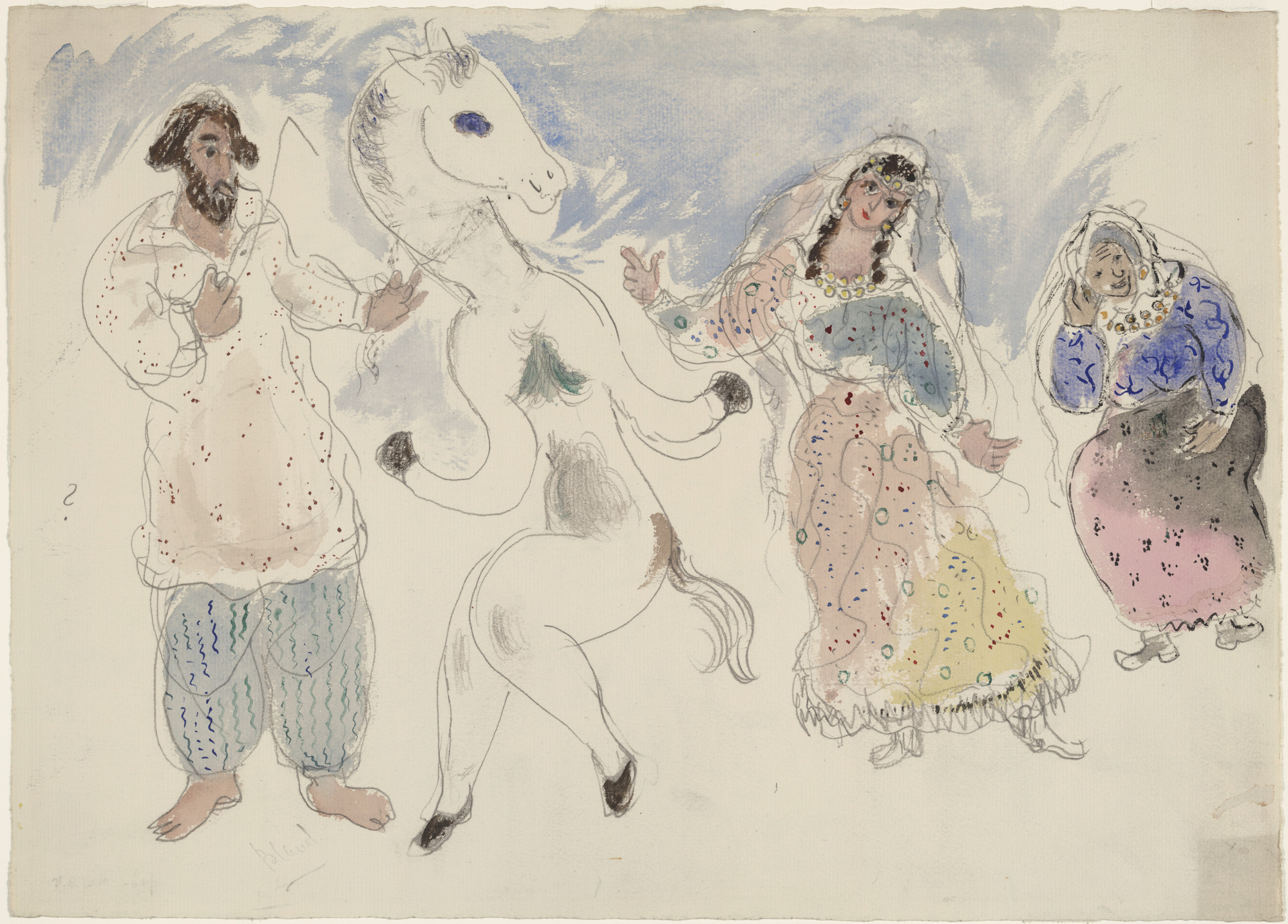 Marc Chagall. Gypsies and a Horse. Costume design for Scene IV for the ballet Aleko. 1942