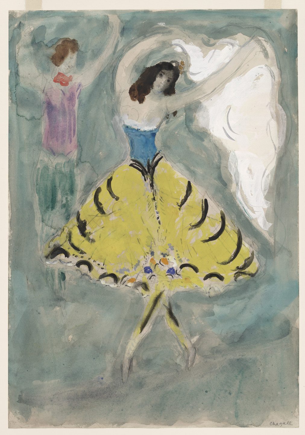 Marc Chagall. Zemphira. Costume design for Scene IV of the ballet Aleko. 1942