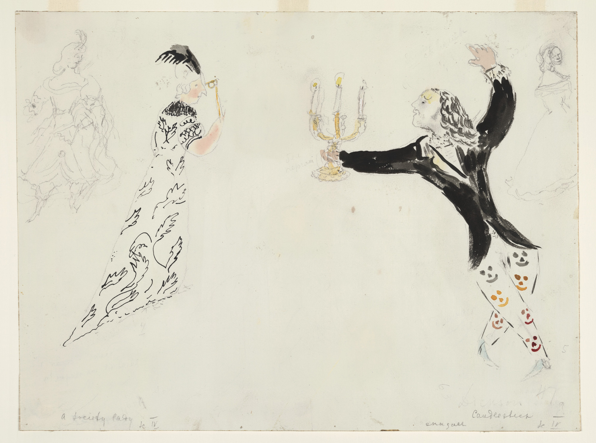 Marc Chagall. A Candlestick and a Society Lady, costume design for Aleko (Scene IV). (1942)