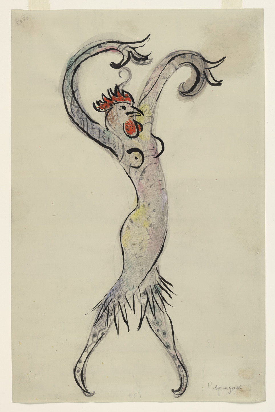 Marc Chagall. A Rooster. Costume design for Scene IV of the ballet Aleko. 1942