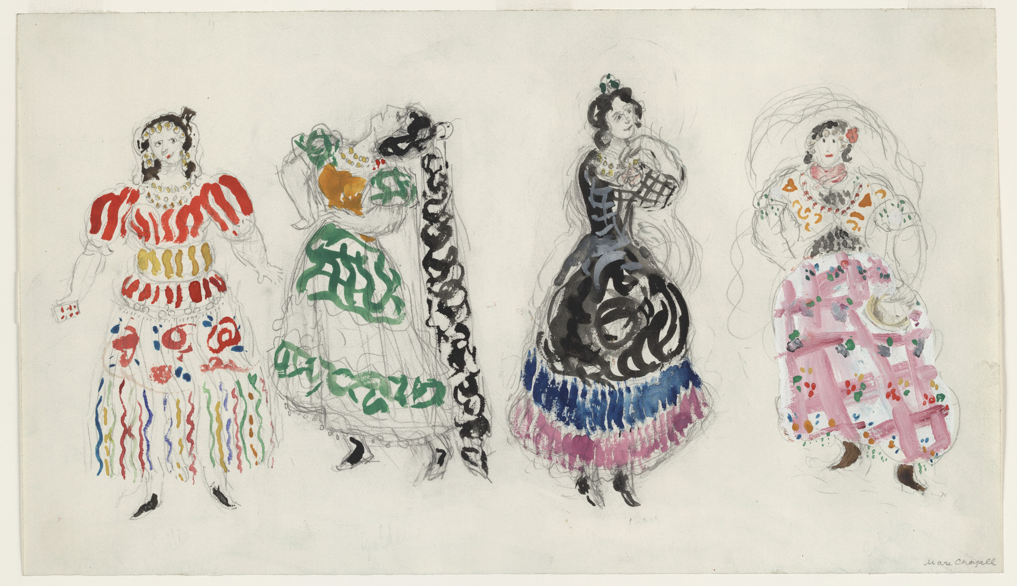 Marc Chagall. Gypsies. Costume design for Scene IV of the ballet Aleko. 1942