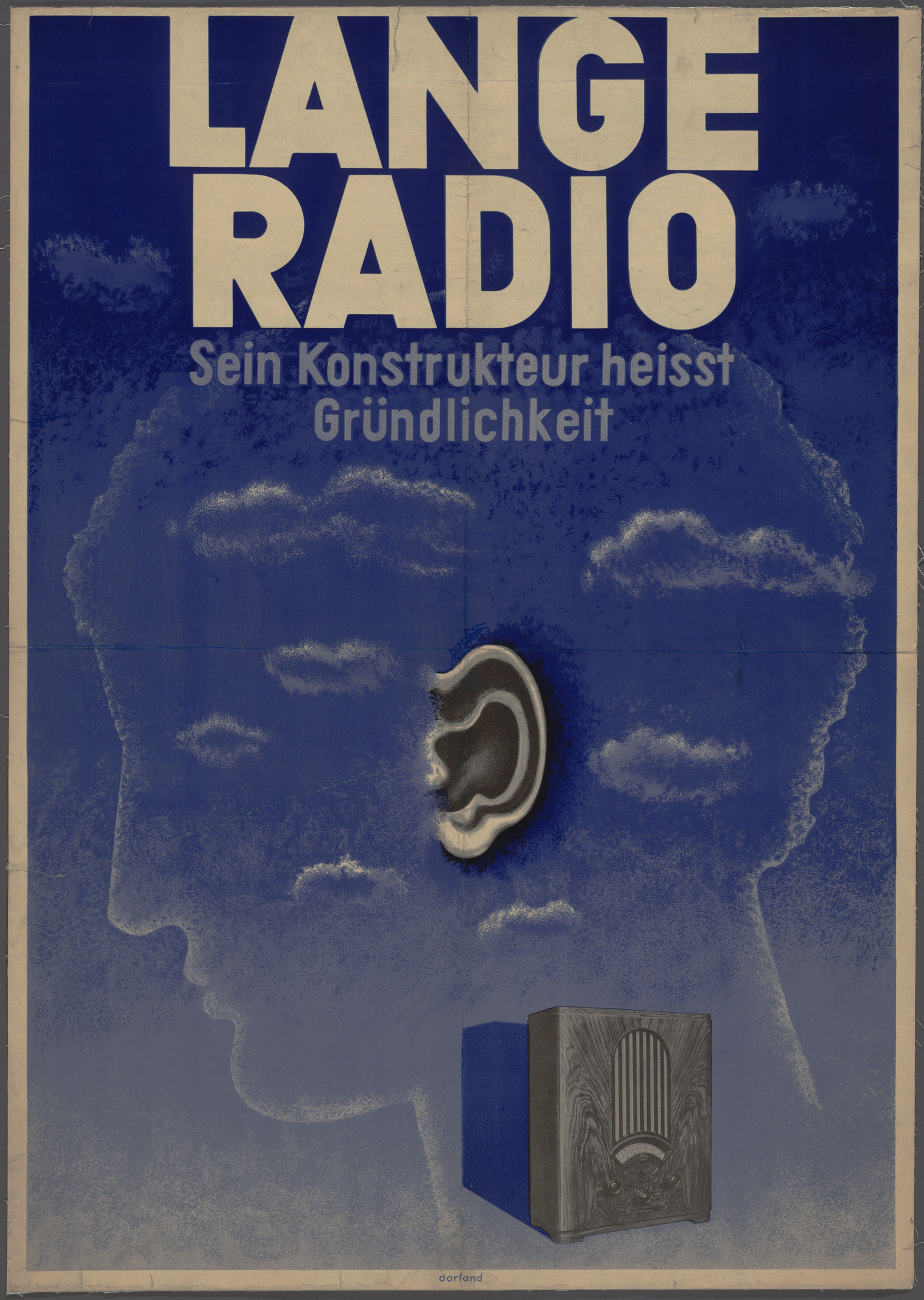 Herbert Bayer. Lange Radio Sein Konstrukteur Heisst Grundlichkeit (Lange Radio - its manufacturer is called thoroughness) (Poster for Johannes Lange GmbH, radio manufacturers 1927-1933). 1931