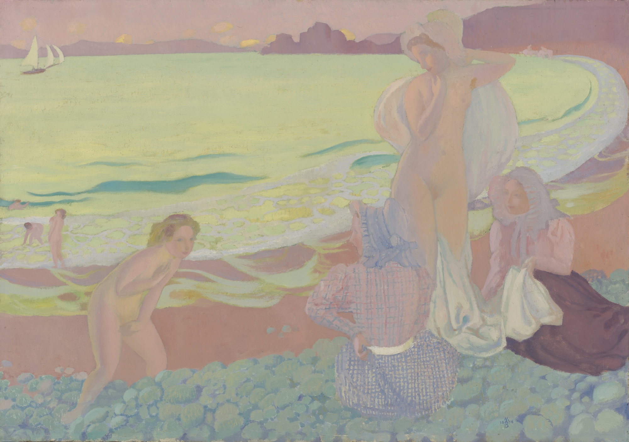 Maurice Denis. On the Beach of Trestrignel. 1898