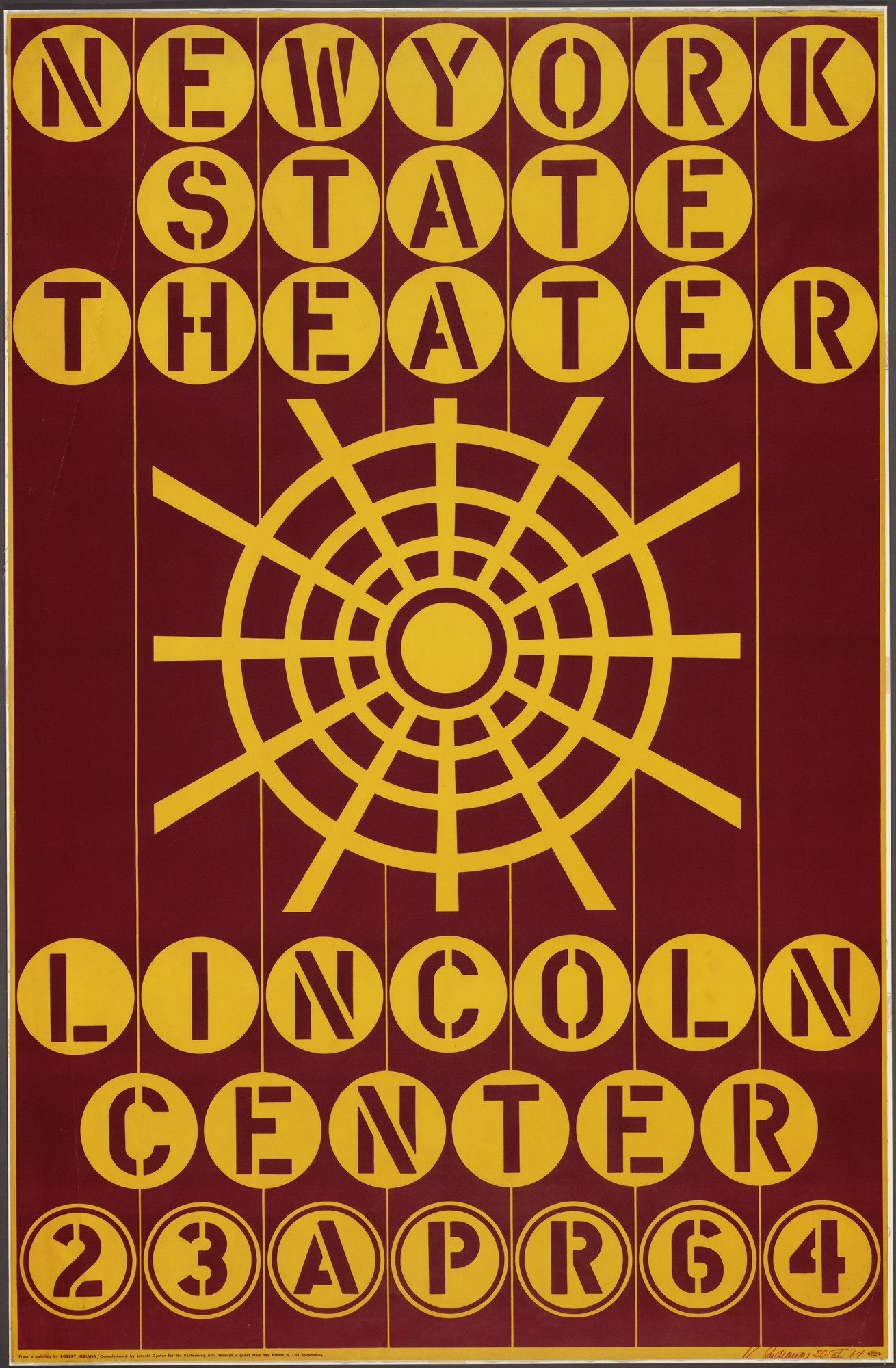 Robert Indiana. New York State Theater, Lincoln Center, 23 Apr 64. 1964