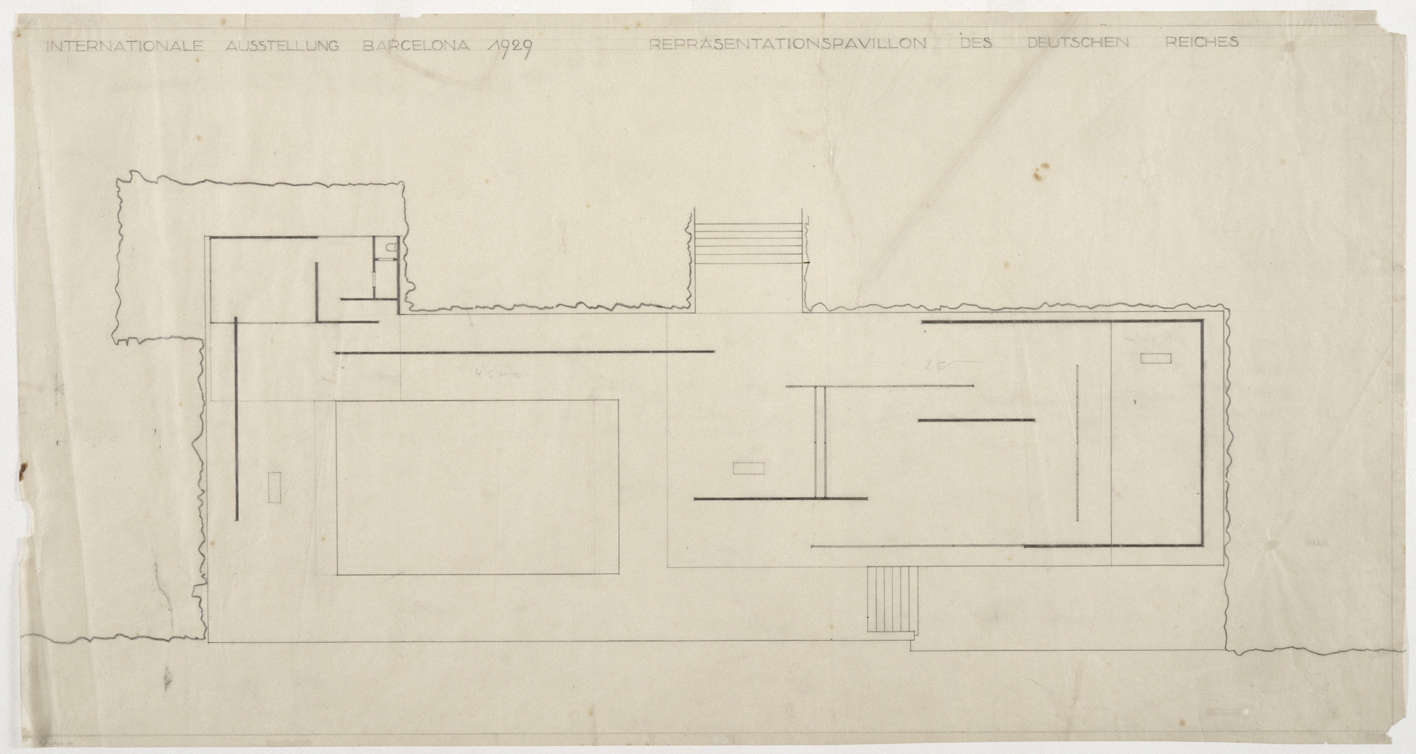 Ludwig Mies Van Der Rohe German Pavilion International Exposition Barcelona Spain Floor Plan Preliminary Scheme C Late 1928 Moma