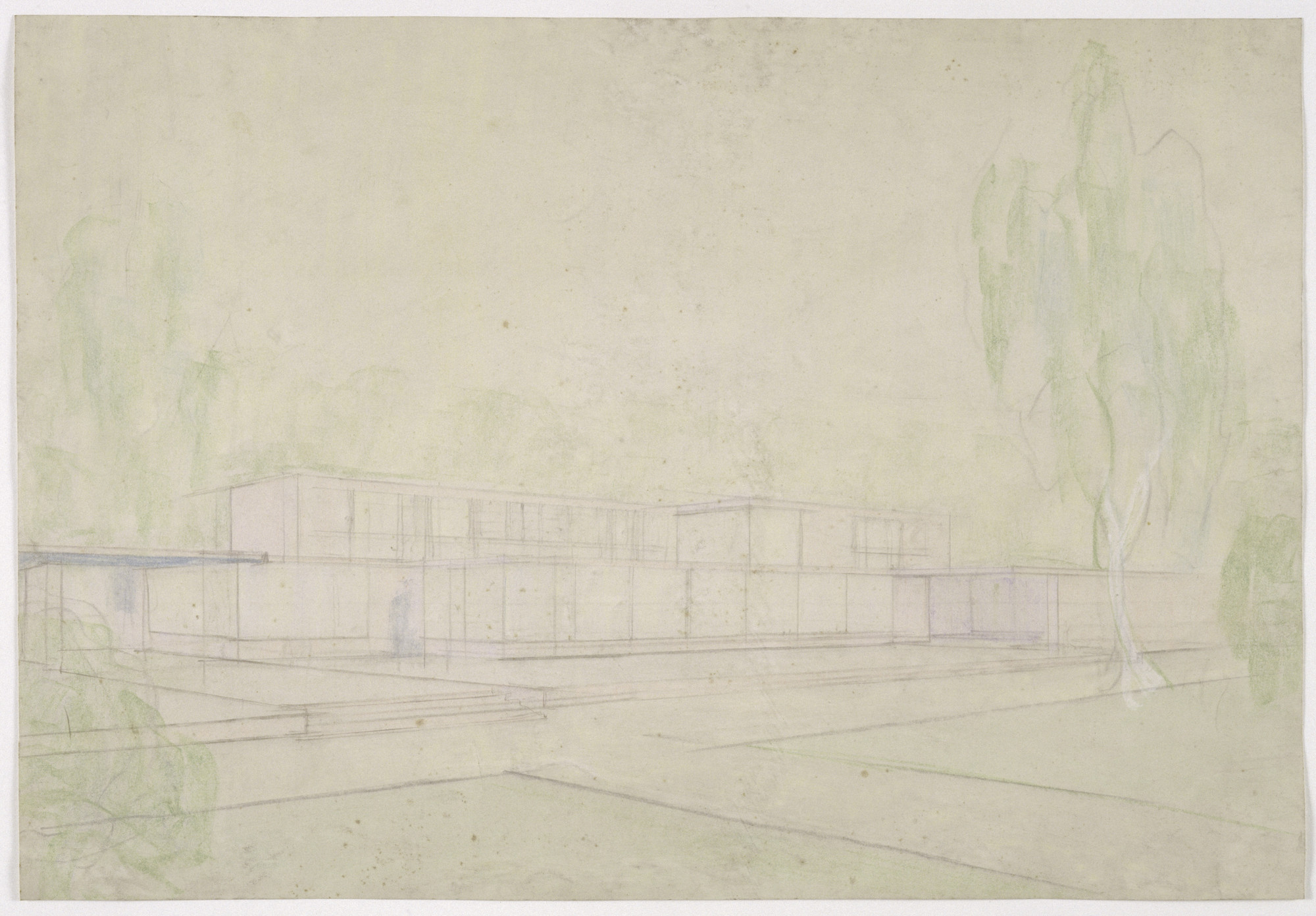 Ludwig Mies van der Rohe. Josef Esters House, Krefeld, Germany, Perspective study of garden façade. c. 1927-1930