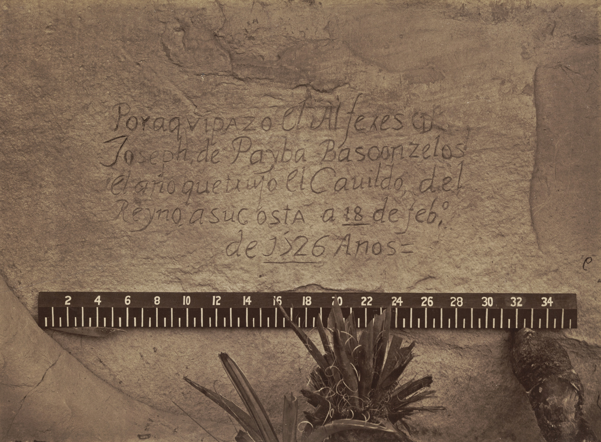 Timothy O'Sullivan. Historic Spanish Record of the Conquest. South Side of Inscription Rock, New Mexico. 1873