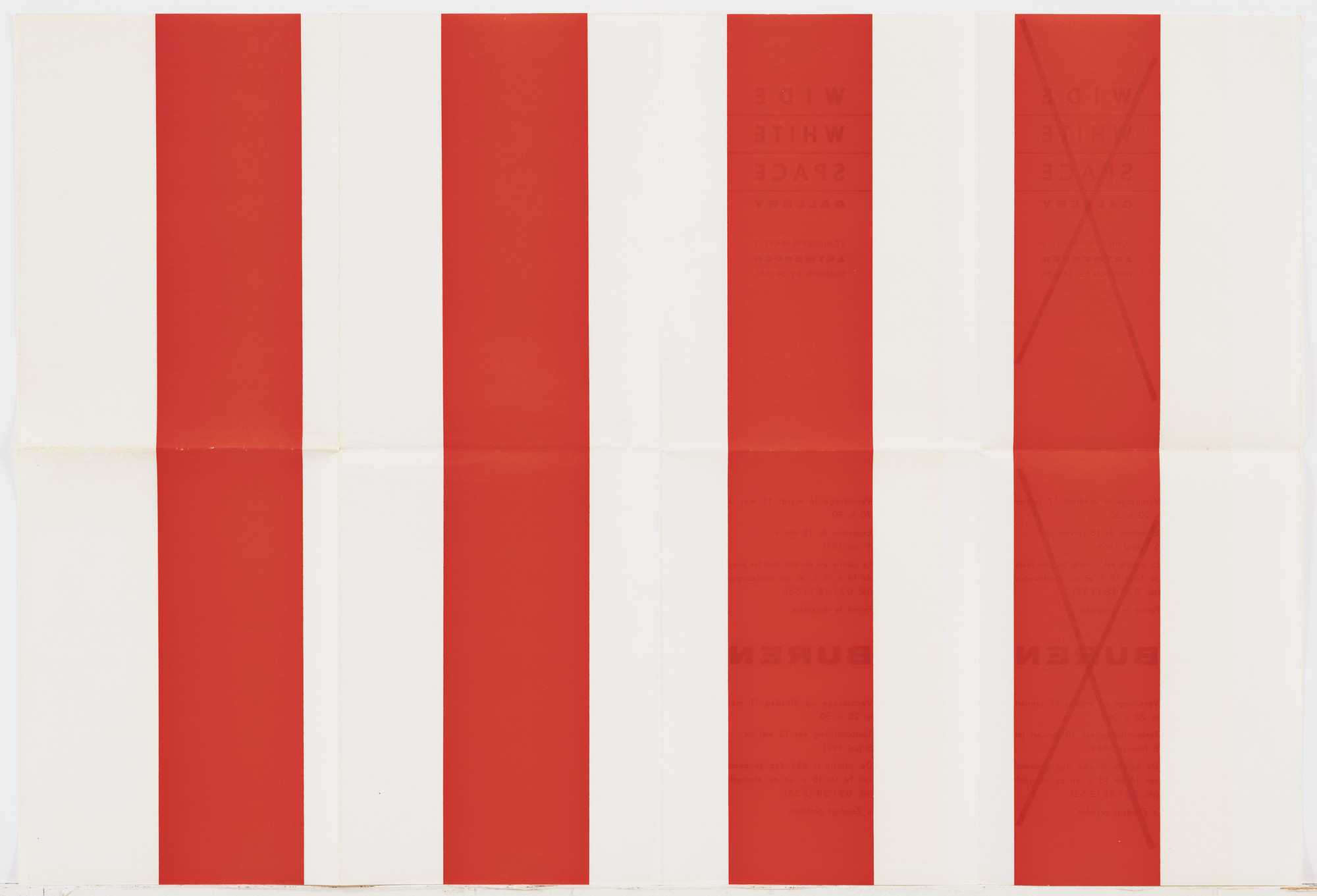 Daniel Buren. Untitled (Wide White Space Gallery Announcements). 1969–74