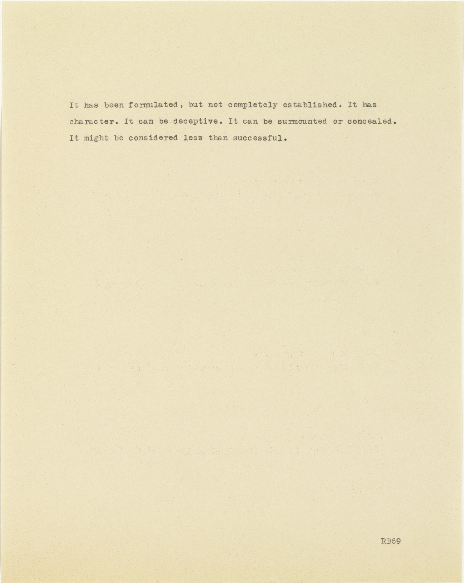Robert Barry. Untitled (It has been formulated...). 1969