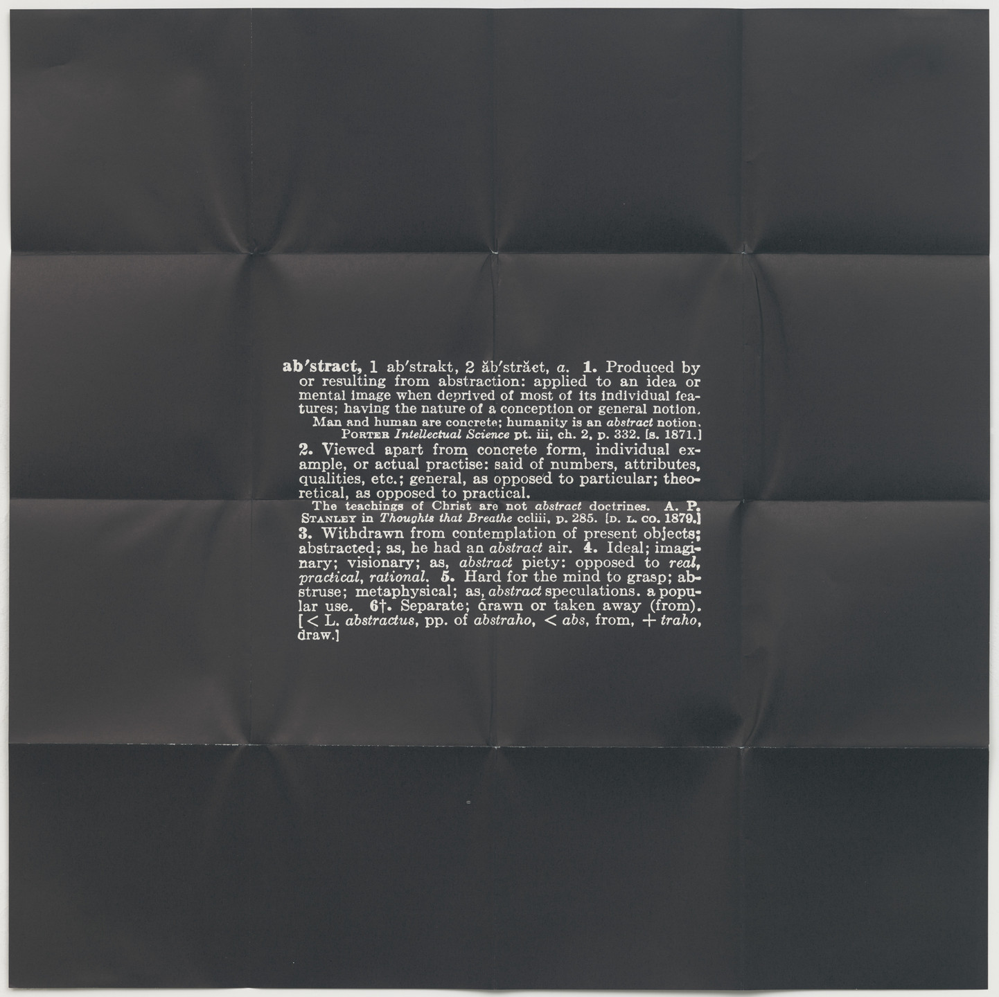 Joseph Kosuth. Four Titled Abstracts from S.M.S. No. 3. 1968