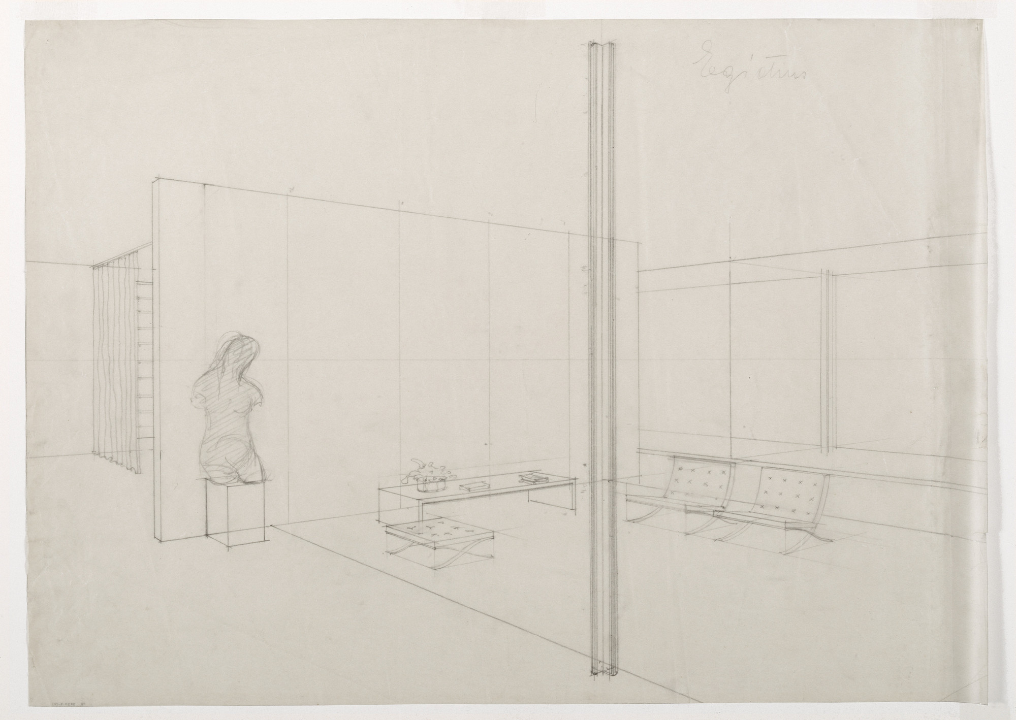 Ludwig Mies van der Rohe. Tugendhat House, Brno, Czech Republic, Perspective of living room. 1928-30
