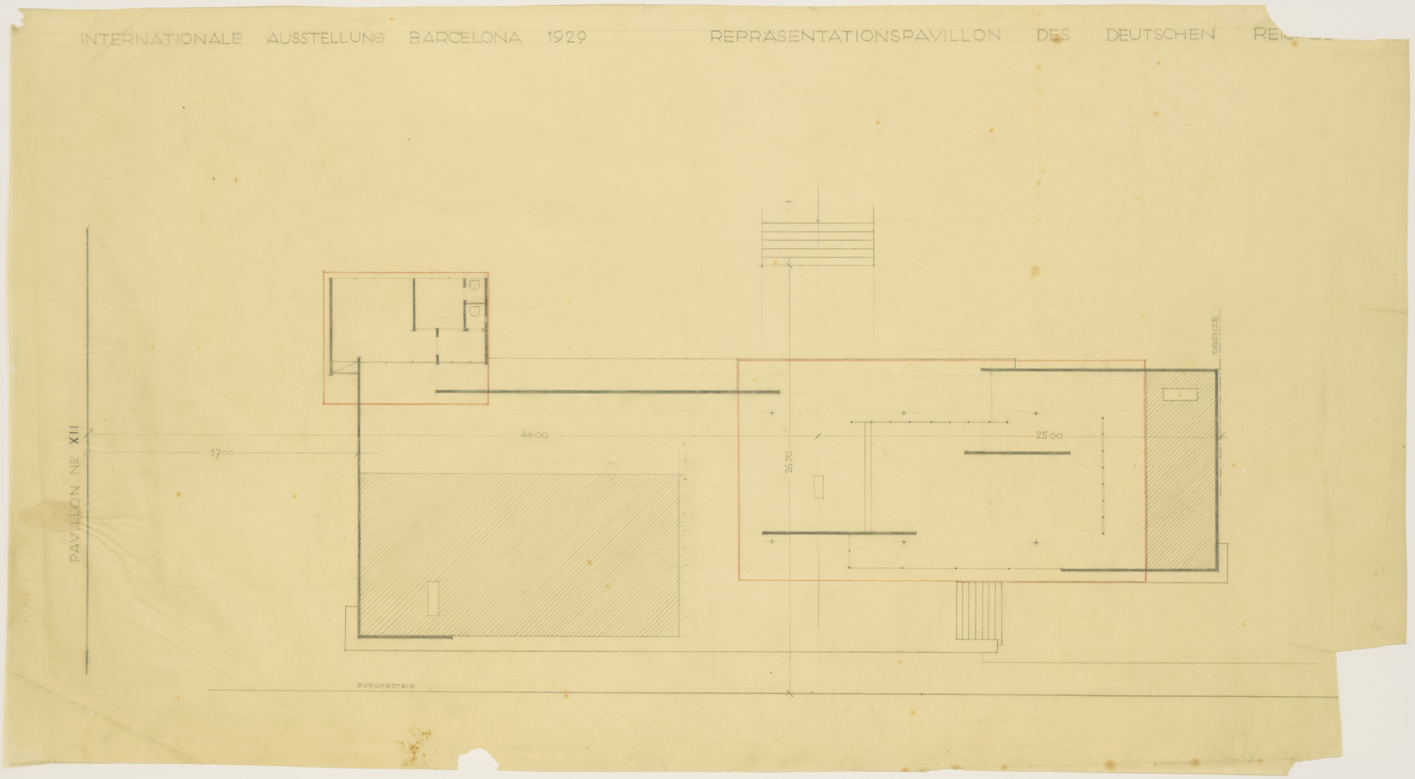 Ludwig Mies Van Der Rohe German Pavilion International Exposition Barcelona Spain Floor Plan Second Preliminary Scheme 1928 29 Moma