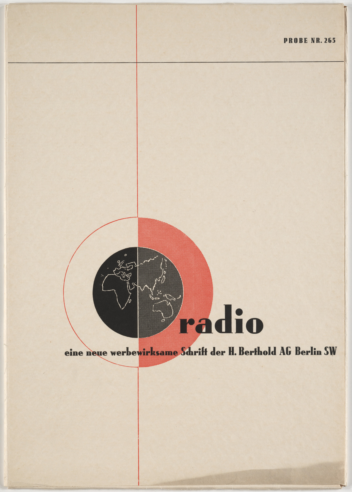 "Georg Trump. Typeface sample folder for the font ""Radio"" by  H. Berthold A.G., Berlin. c. 1931"