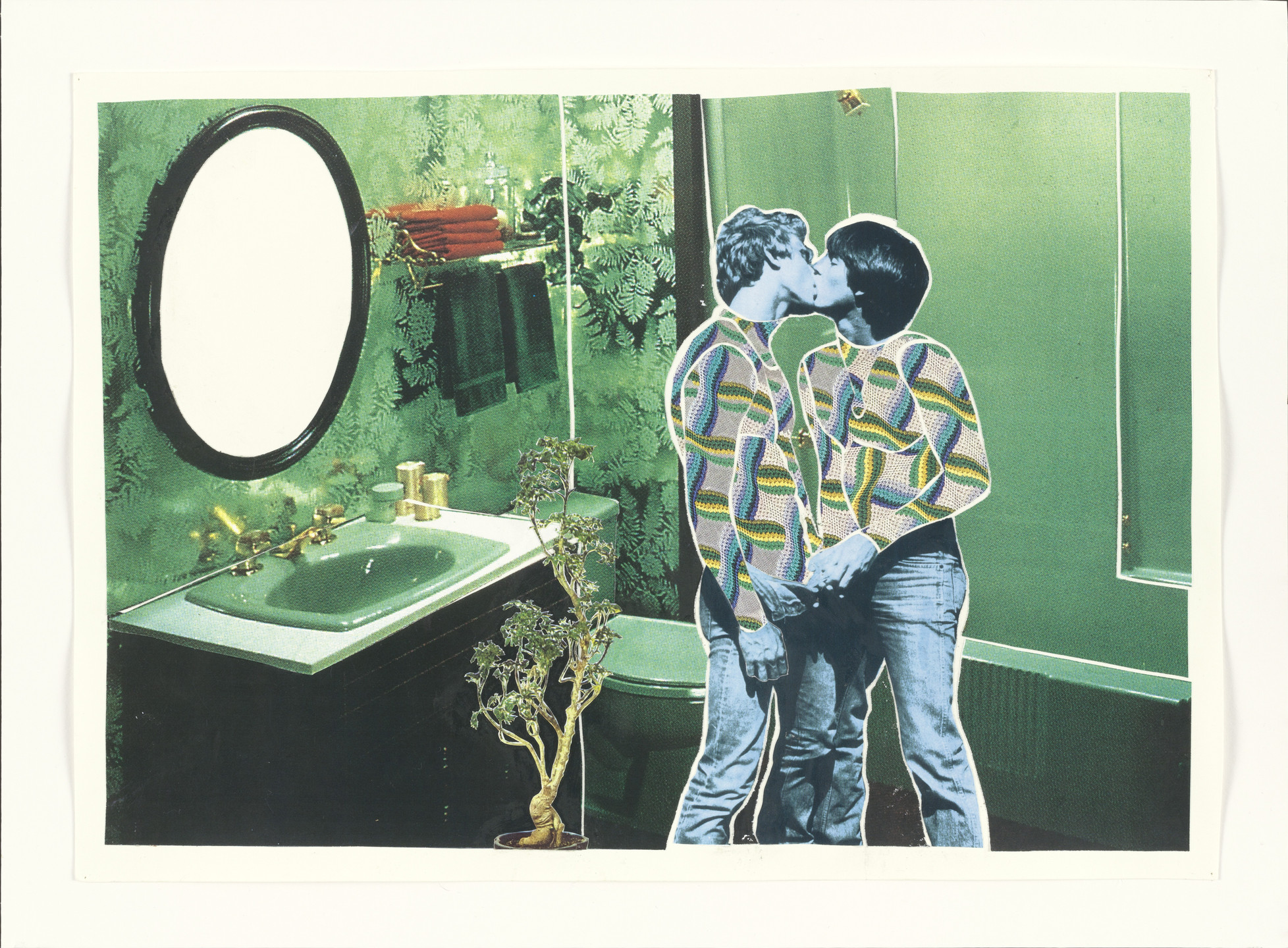 Christian Holstad. Kissing Couple in Jean Pants and Green Bathroom. 2003