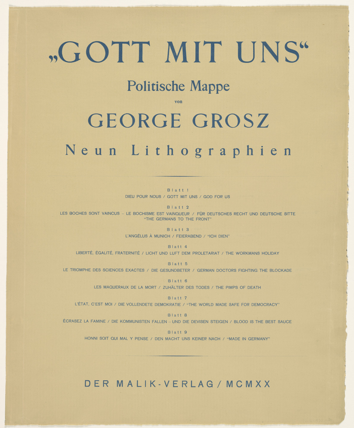 George Grosz. God with Us (Gott mit uns) from the portfolio God with Us (Gott mit uns). 1919, published 1920