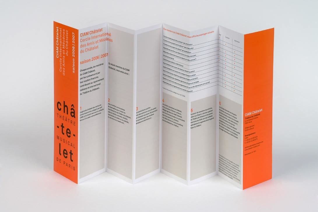 Philippe Apeloig. Théâtre du Châtelet, series of brochures and subscription forms. 2006