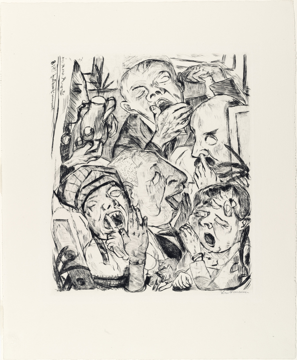 Max Beckmann. The Yawners (Die Gähnenden) from Faces (Gesichter). (1918, published 1919)