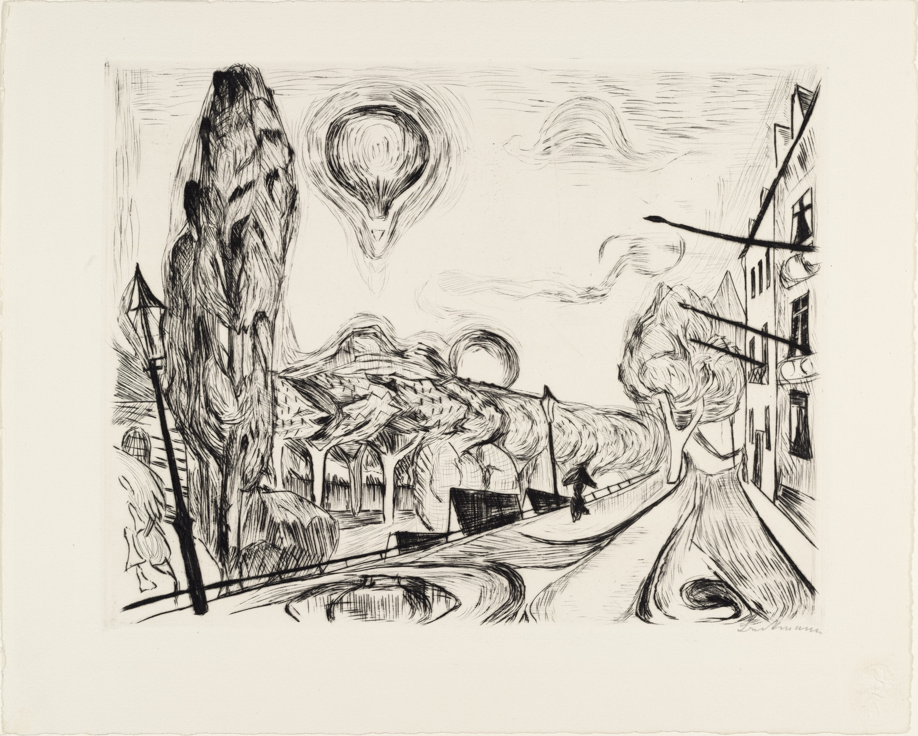 Max Beckmann. Landscape with Balloon (Landschaft mit Ballon) from Faces (Gesichter). (1918, published 1919)