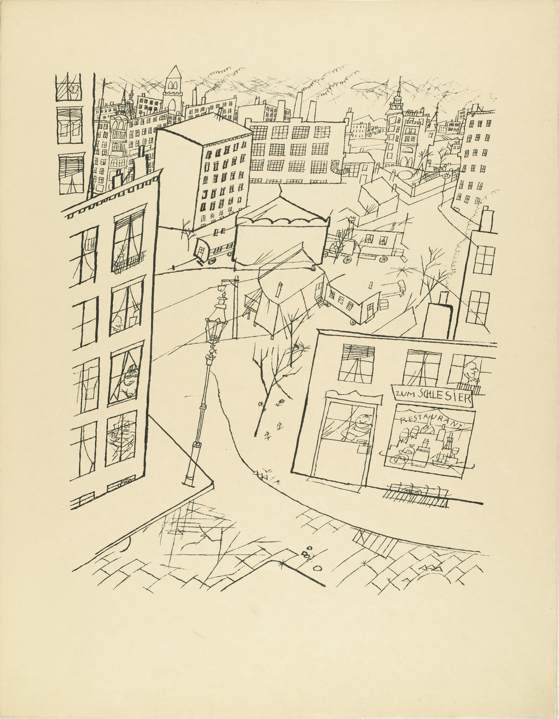 George Grosz. Suburb (Vorstadt) from The First George Grosz Portfolio (Erste George Grosz-Mappe). 1915–16, published 1916–17
