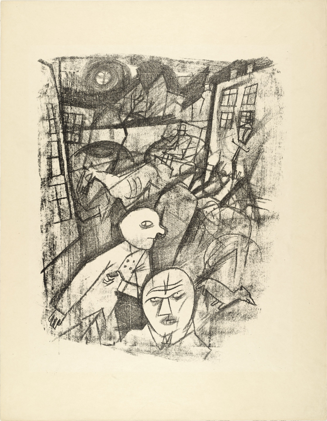 George Grosz. Moonlit Night (Mondnacht) from The First George Grosz Portfolio (Erste George Grosz-Mappe). 1915–16, published 1916–17