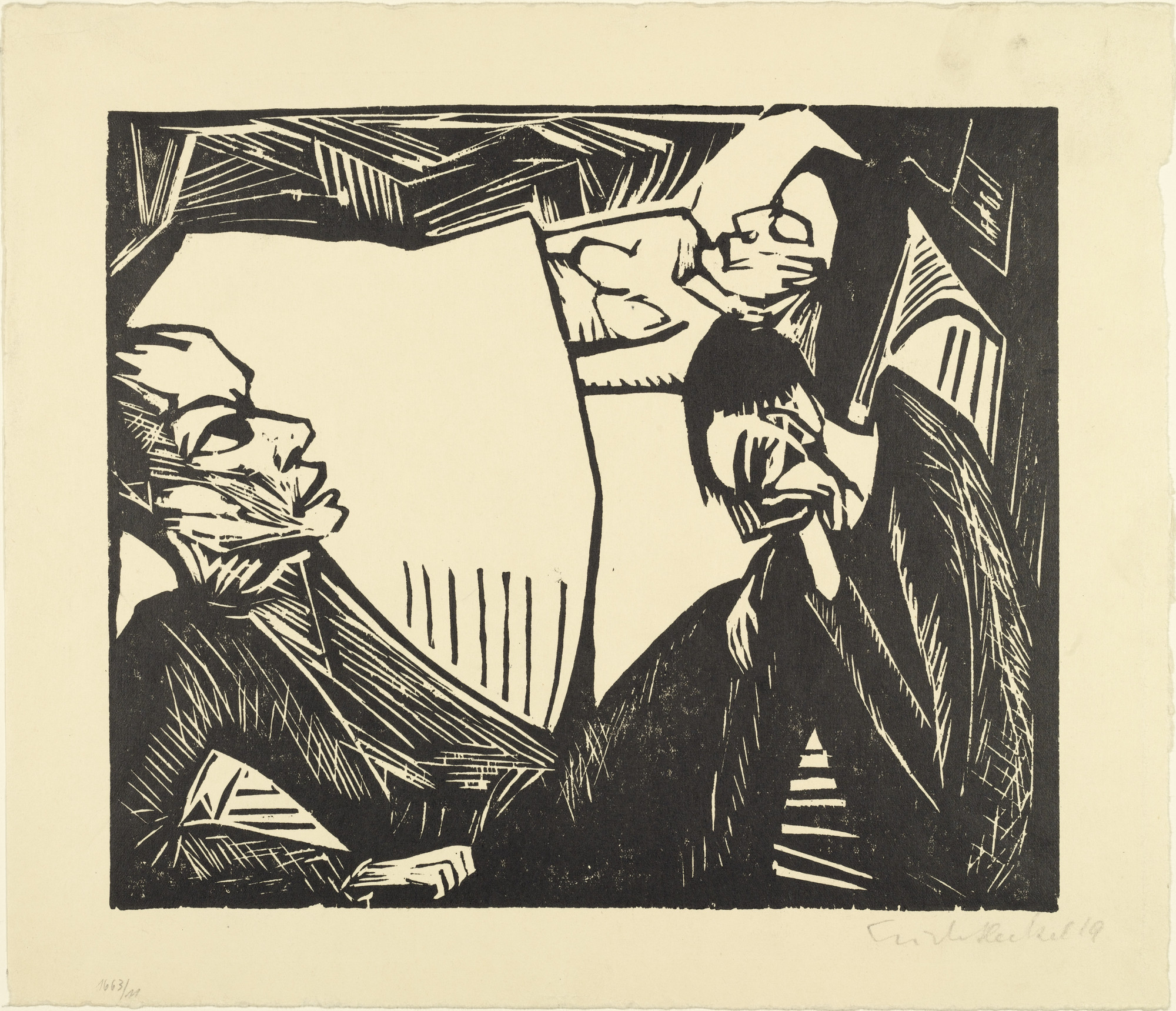 Erich Heckel. The Dead Woman (Die Tote) for the portfolio Die Schaffenden, 2, no. 2. (1912), dated 1919, (published 1920)
