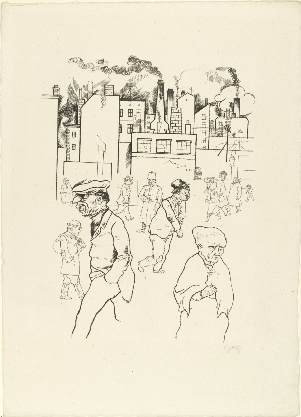 George Grosz. Outside the Factories from In the Shadows (Im Schatten). c. 1920, published 1921
