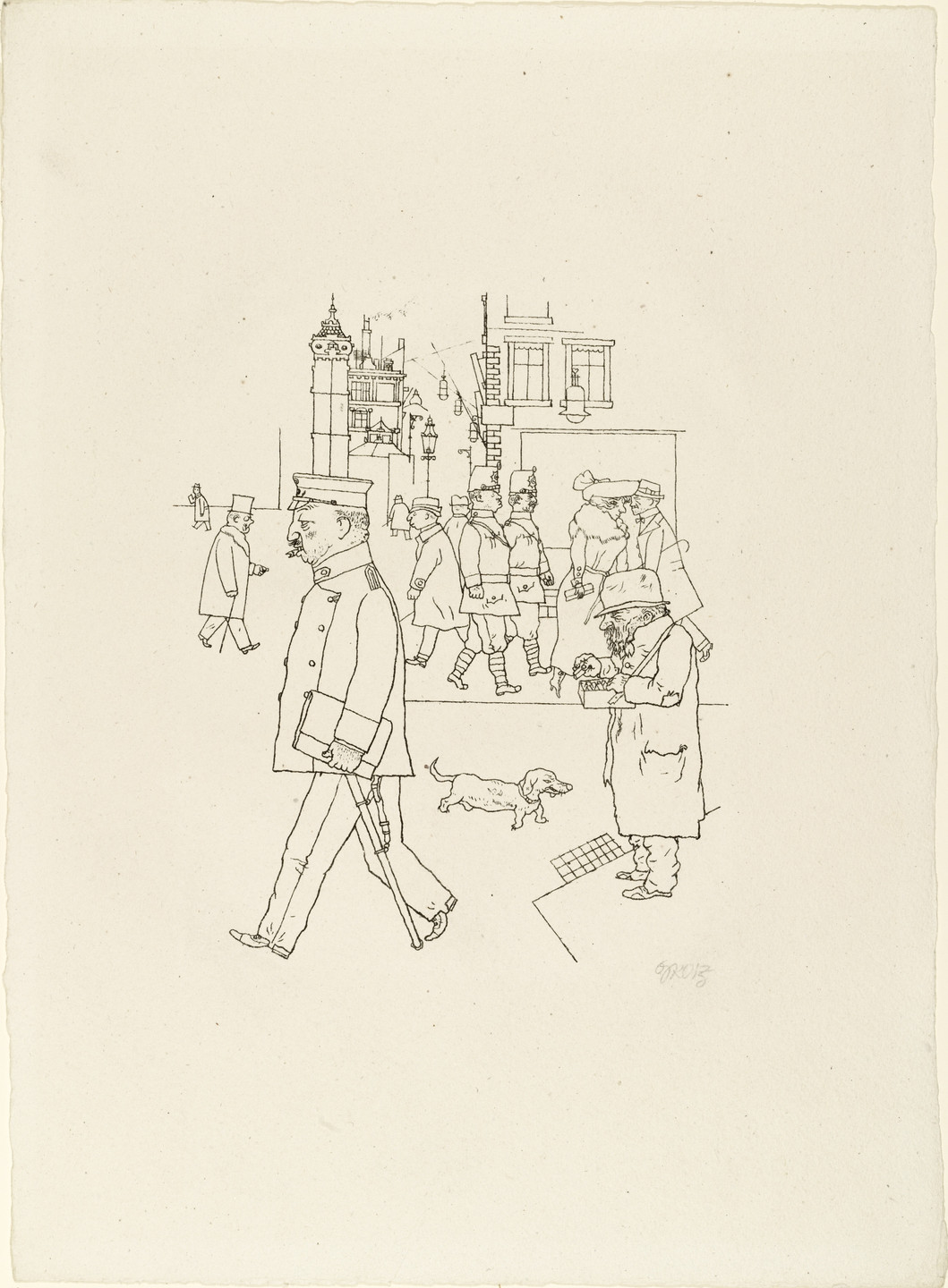 George Grosz. Matchseller and Patrol from In the Shadows (Im Schatten). c. 1920, published 1921