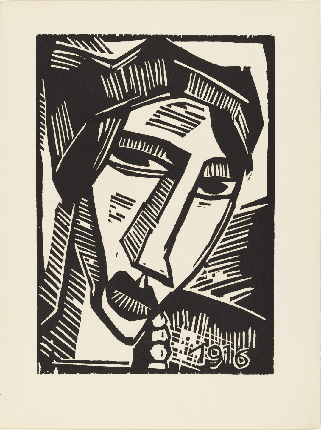 Karl Schmidt-Rottluff. Woman's Head (plate 22) from the illustrated book Deutsche Graphiker der Gegenwart (German Printmakers of Our Time). 1916, published 1920
