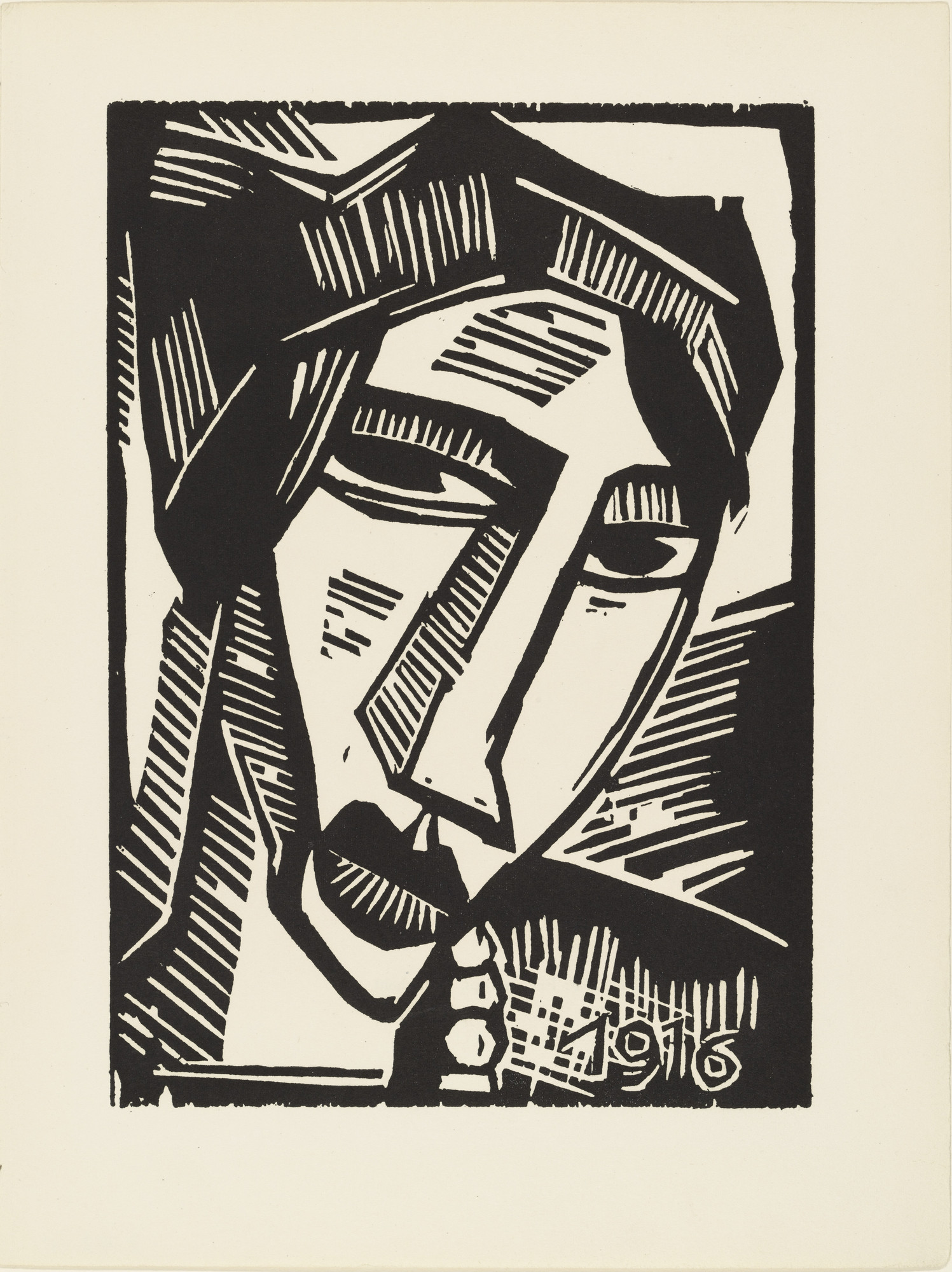Karl Schmidt-Rottluff. Woman's Head (plate 22) from the illustrated book Deutsche Graphiker der Gegenwart (German Printmakers of Our Time). 1920 (print executed in 1916)