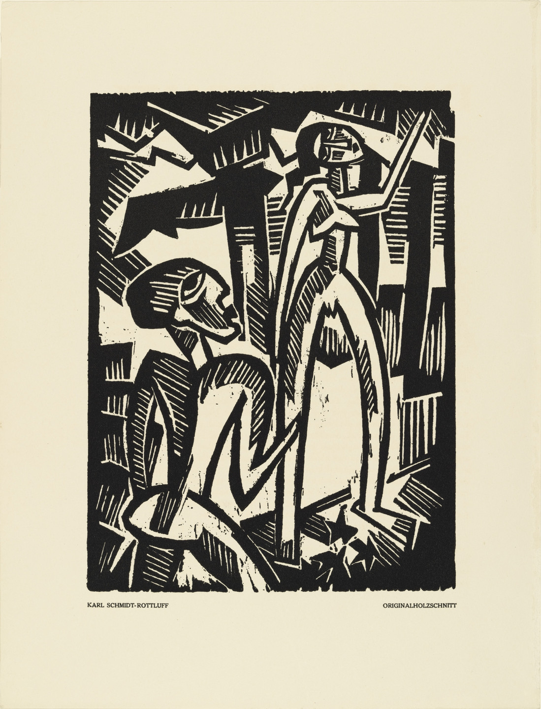 Karl Schmidt-Rottluff. Couple (Menschenpaar) (plate, preceding p. 33) from the periodical Das Kunstblatt, vol. 2, no. 2 (Feb 1918). 1918 (executed 1917)