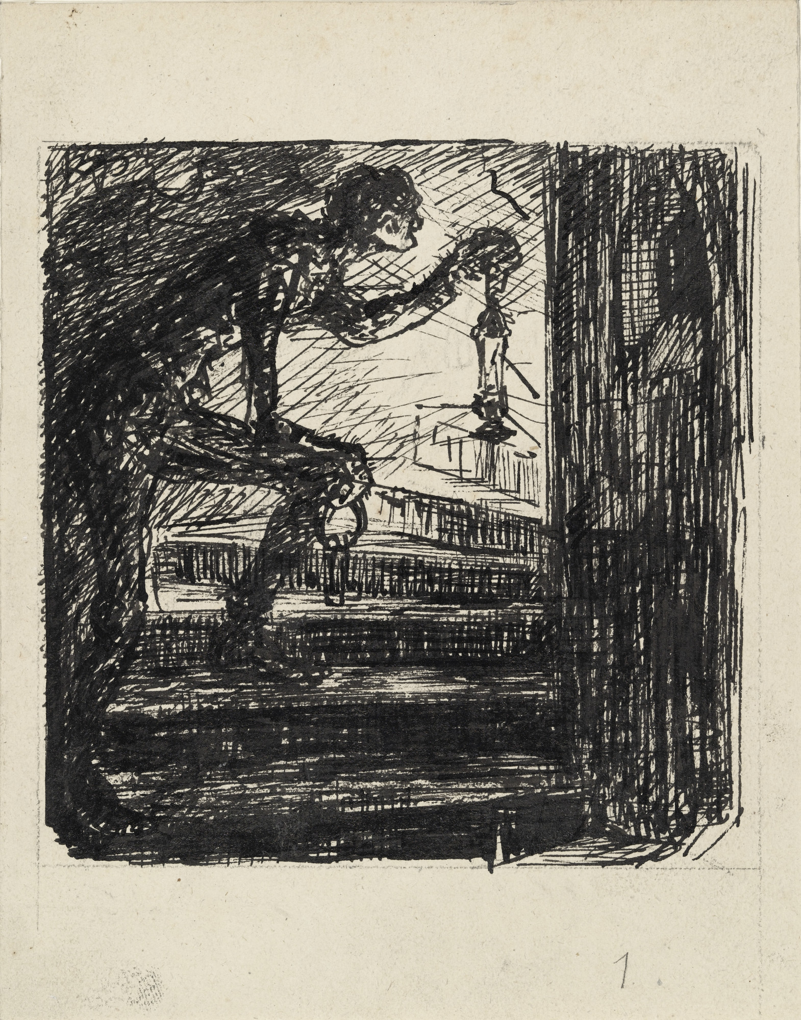 Alfred Kubin. On the Tower Stairs (Auf der Turmtreppe). (n.d.)