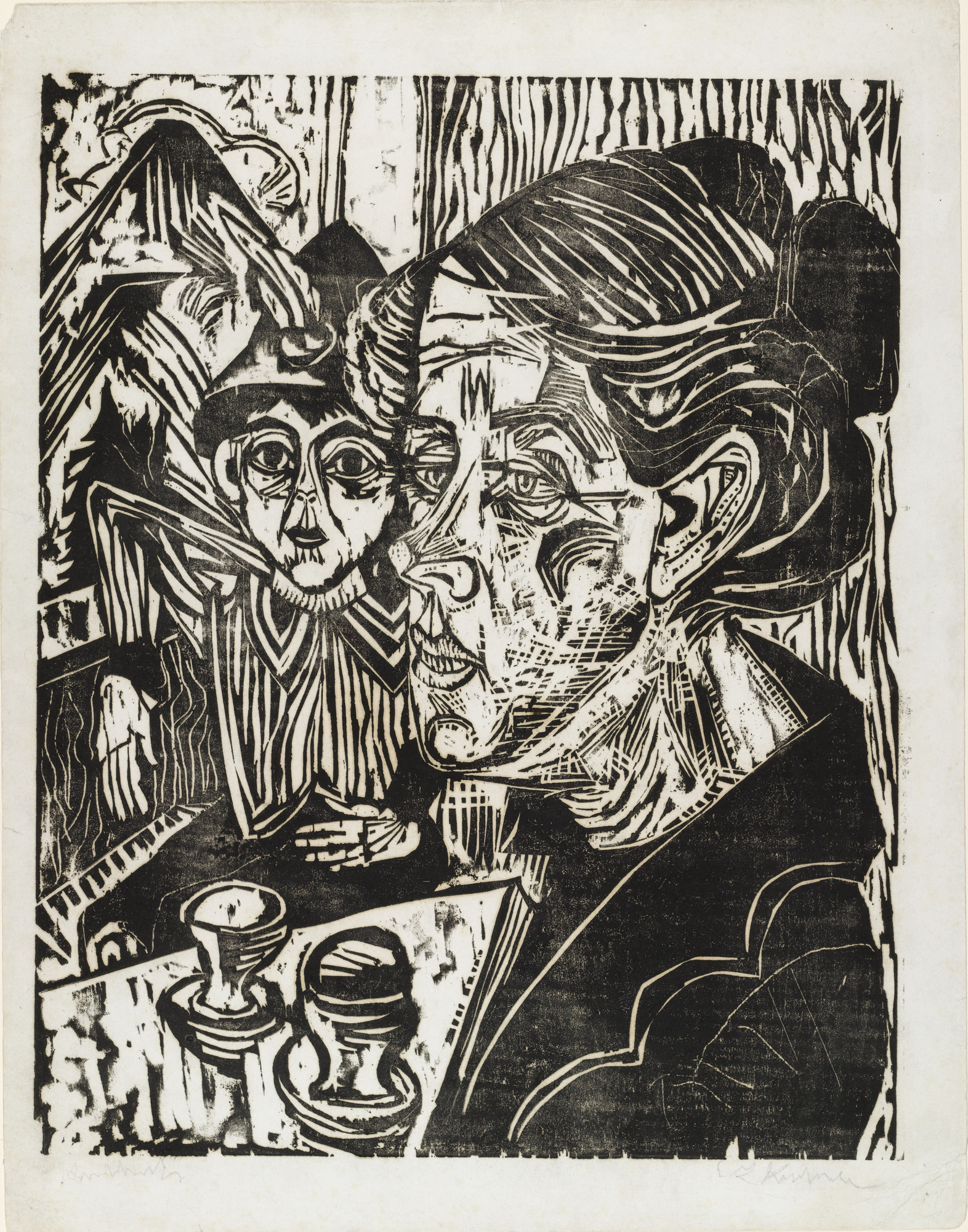 Ernst Ludwig Kirchner. Peasant Woman with Boy at Table (Bäuerin mit Knaben am Tisch). (1917)