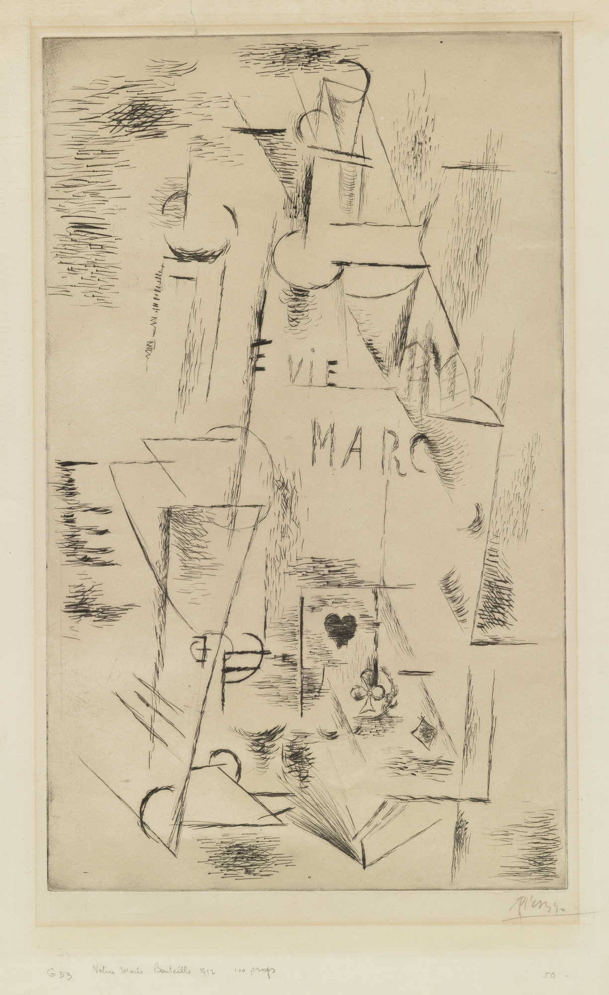 Pablo Picasso. Still Life with Bottle of Marc (Nature morte à la bouteille de marc). 1911, published 1912