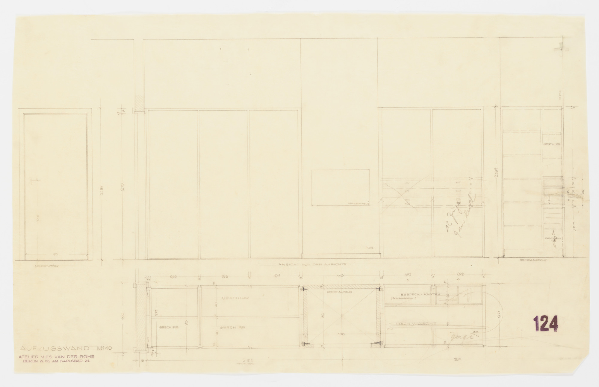 Ludwig Mies van der Rohe. Tugendhat House, Brno, Czech Republic, Dumbwaiter wall. Elevation, vertical and horizontal sections.. 1928-30