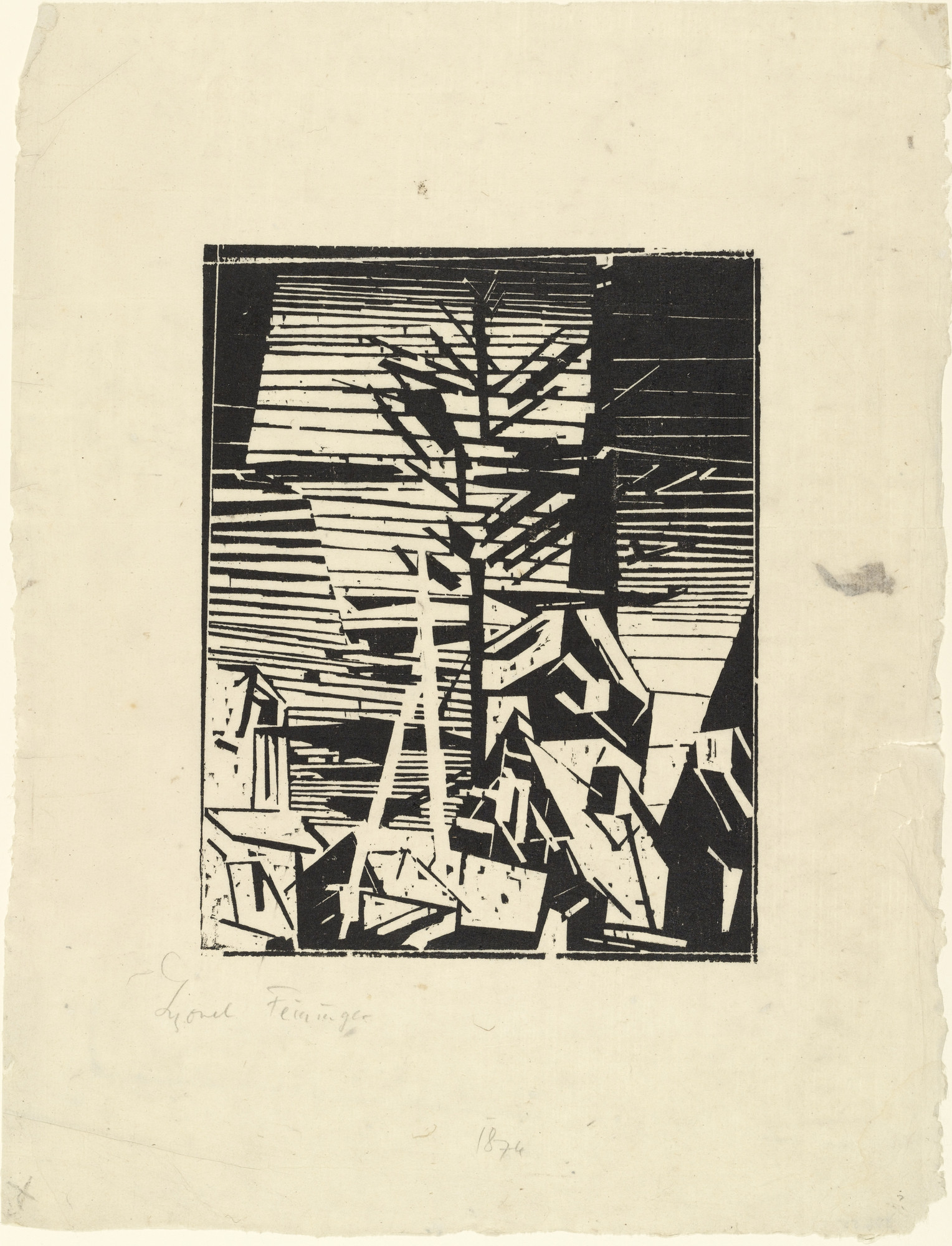 Lyonel Feininger. Gelmeroda (with the Fir Tree) (Gelmeroda [mit Tanne]). 1918
