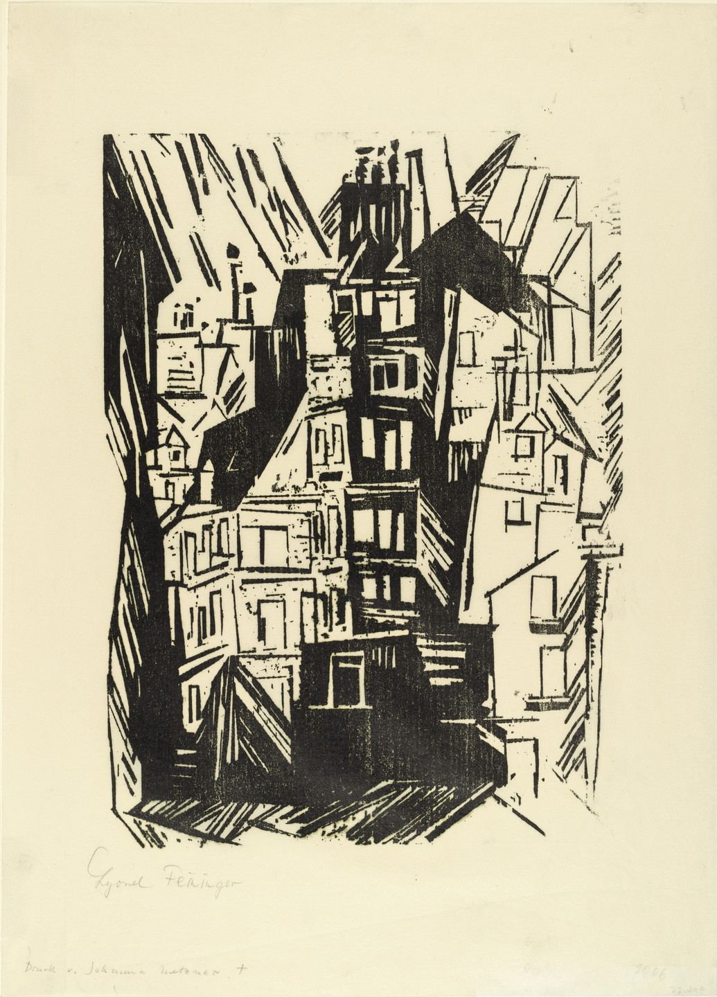 Lyonel Feininger. Paris Houses (Pariser Häuser) annual print for the Gesellschaft der Erfurter Museumsfreunde (Society for the Friends of the Erfurt Museum). 1920 (published 1927)