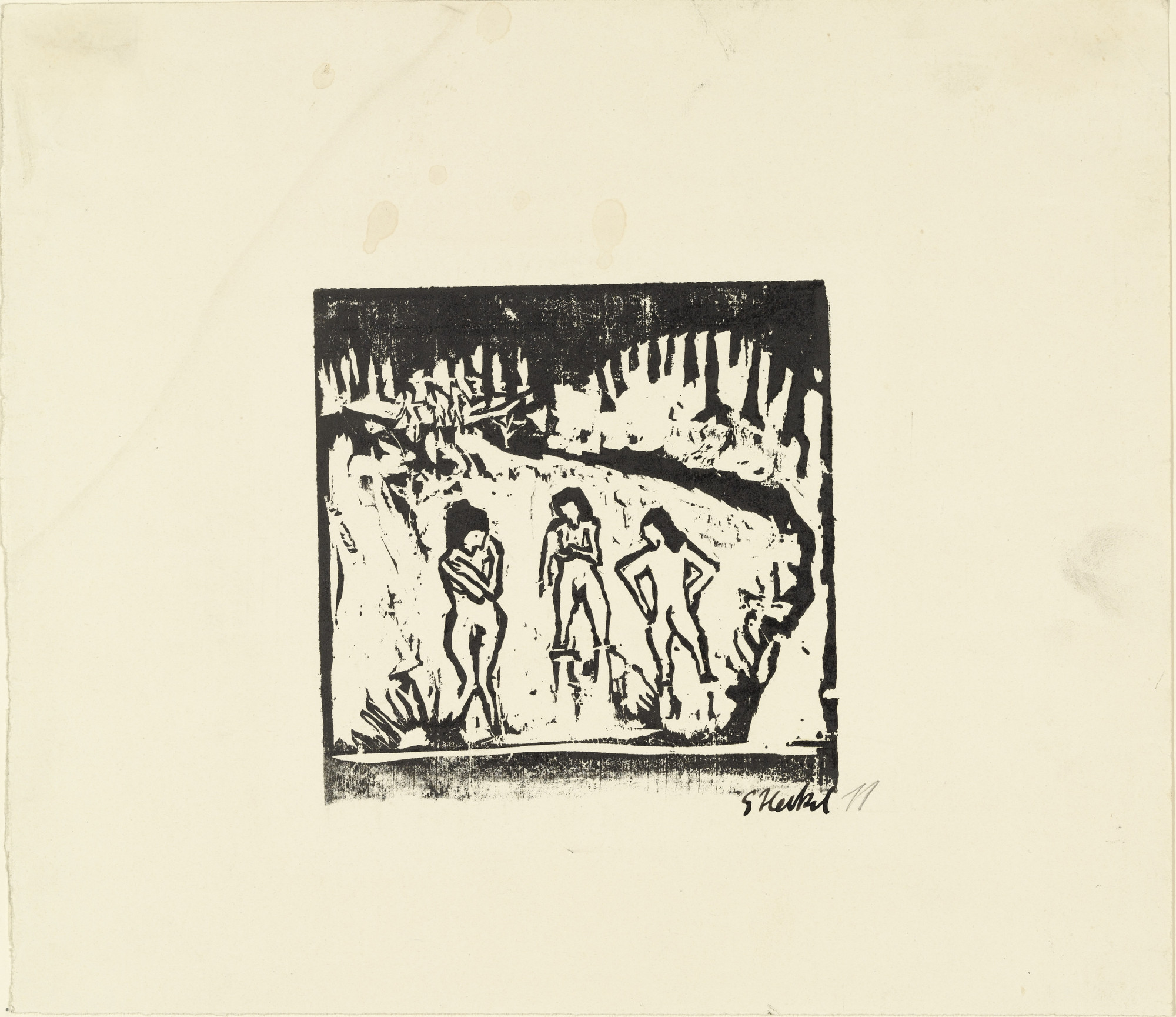 Erich Heckel. Bathers in the Pond (Badende im Teich). 1911