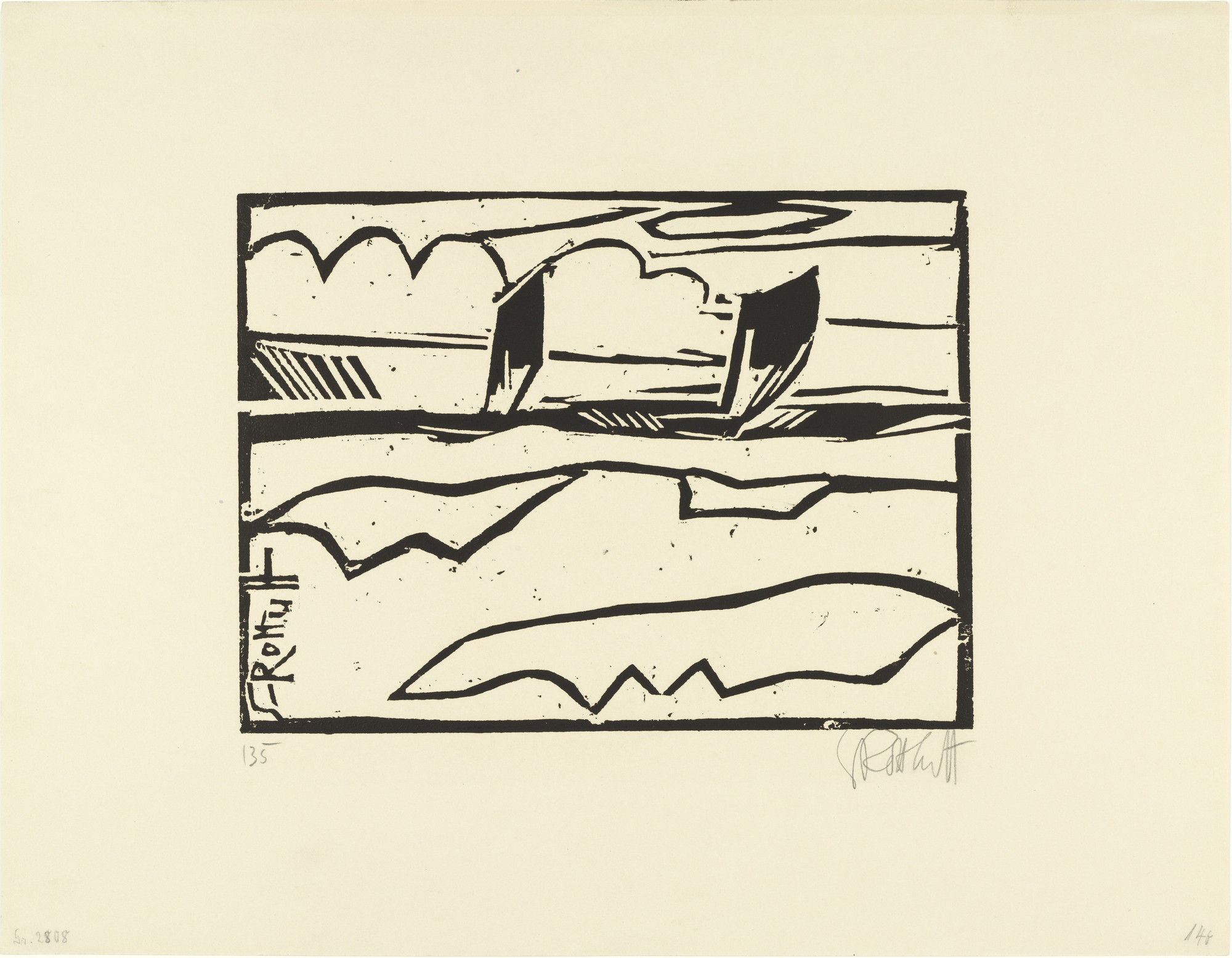 Karl Schmidt-Rottluff. Boats on the Sea (Boote auf See). (1913), published 1914