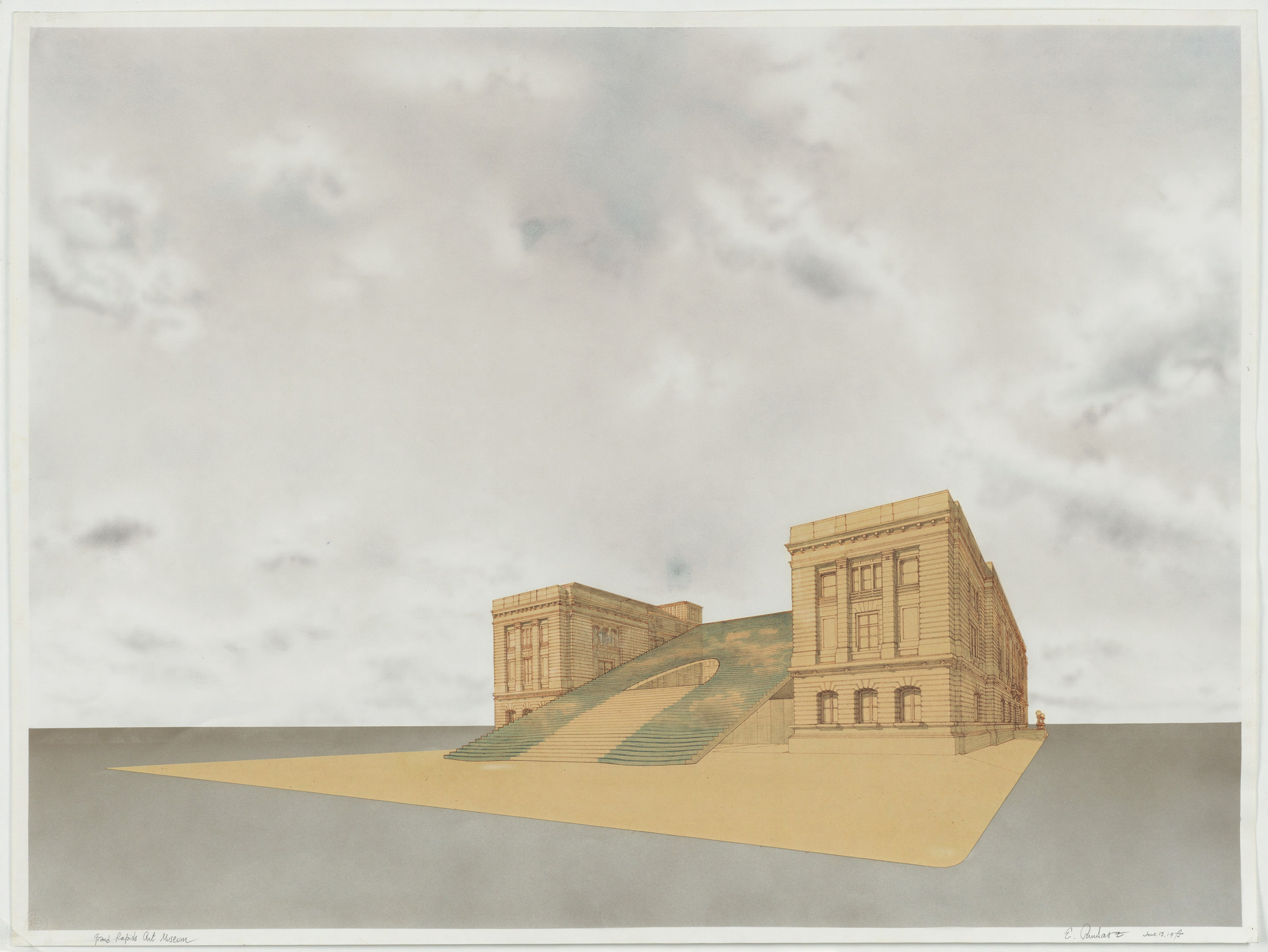 Emilio Ambasz. Grand Rapids Art Museum, project, Grand Rapids, Michigan, Perspective. 1975