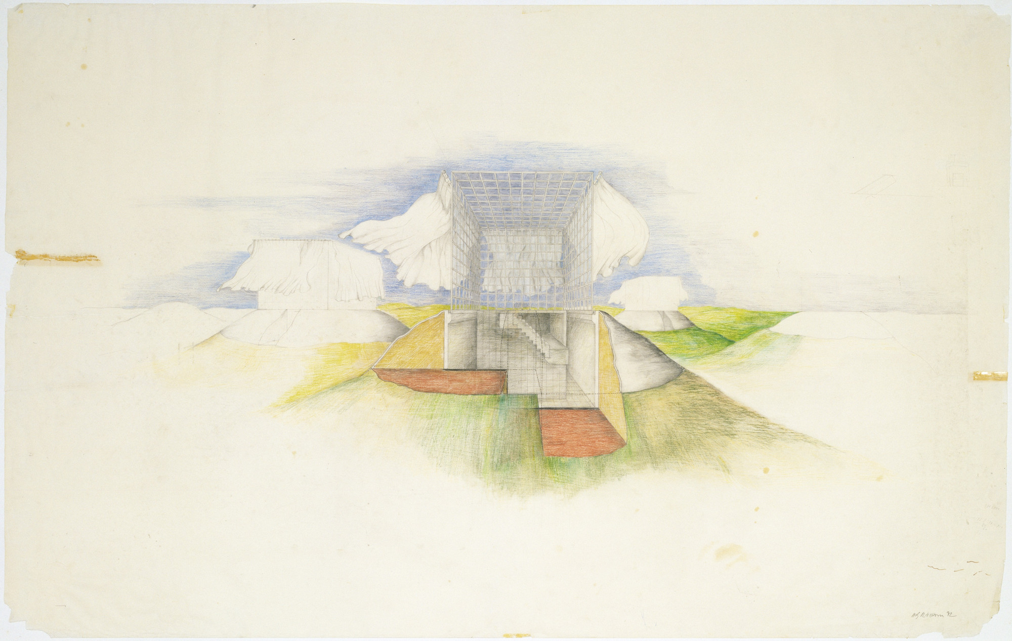 Raimund Abraham. The House with Curtains Project, Perspective. 1972